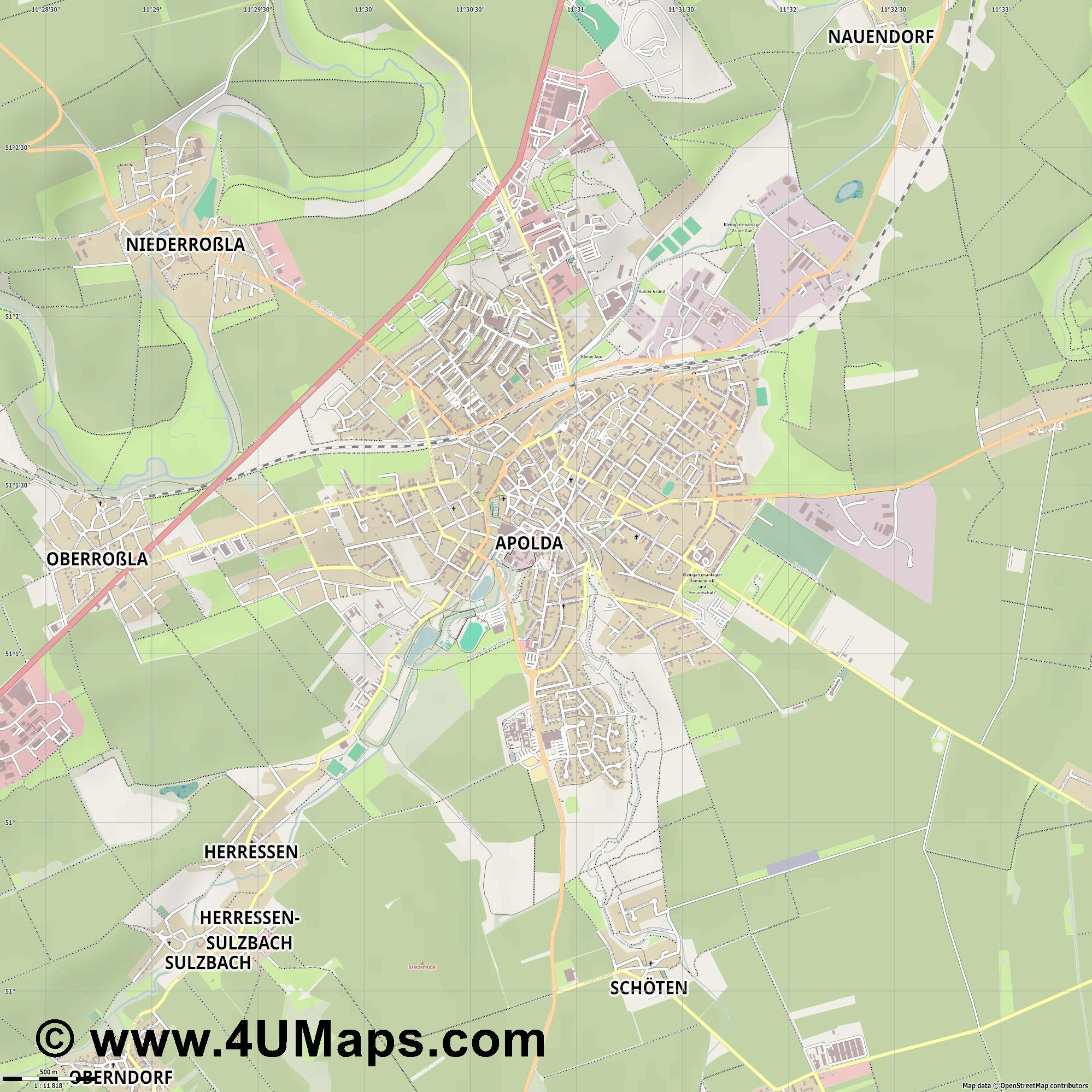 Apolda  jpg ultra high detail preview vector city map
