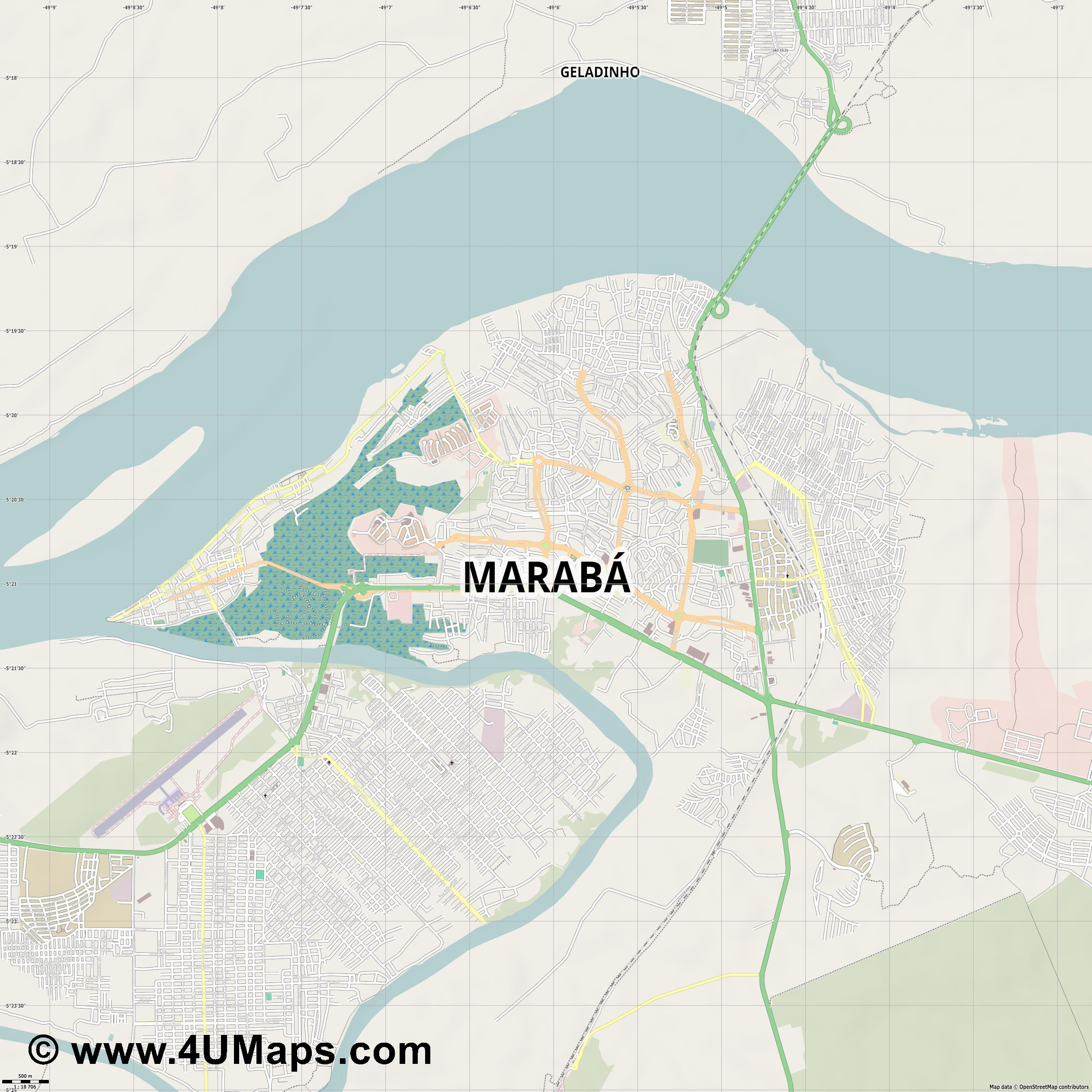 Marabá Maraba  jpg ultra high detail preview vector city map