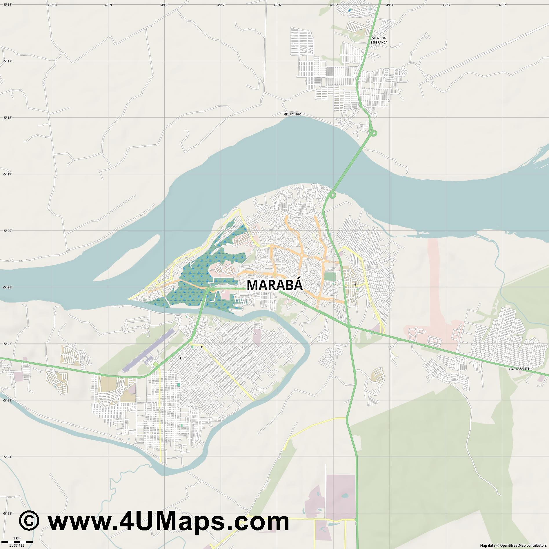 Marabá Maraba  jpg high detail, large area preview vector city map
