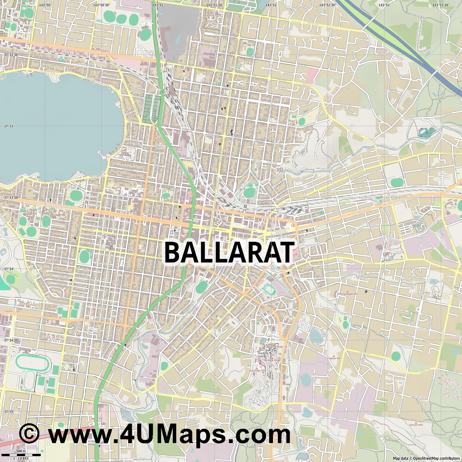 Ballarat  jpg ultra high detail preview vector city map