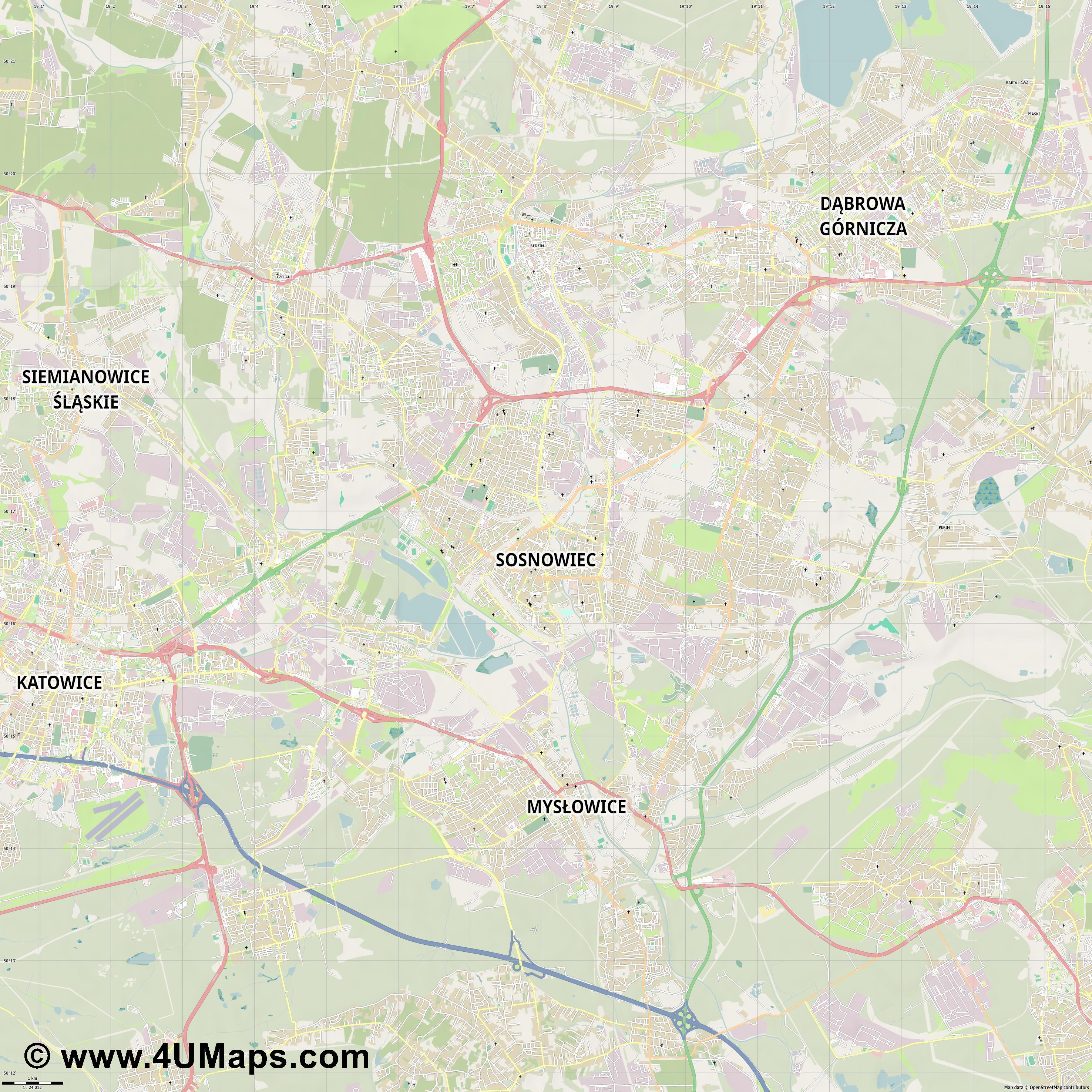 Sosnowiec Sosnowitz  jpg high detail, large area preview vector city map
