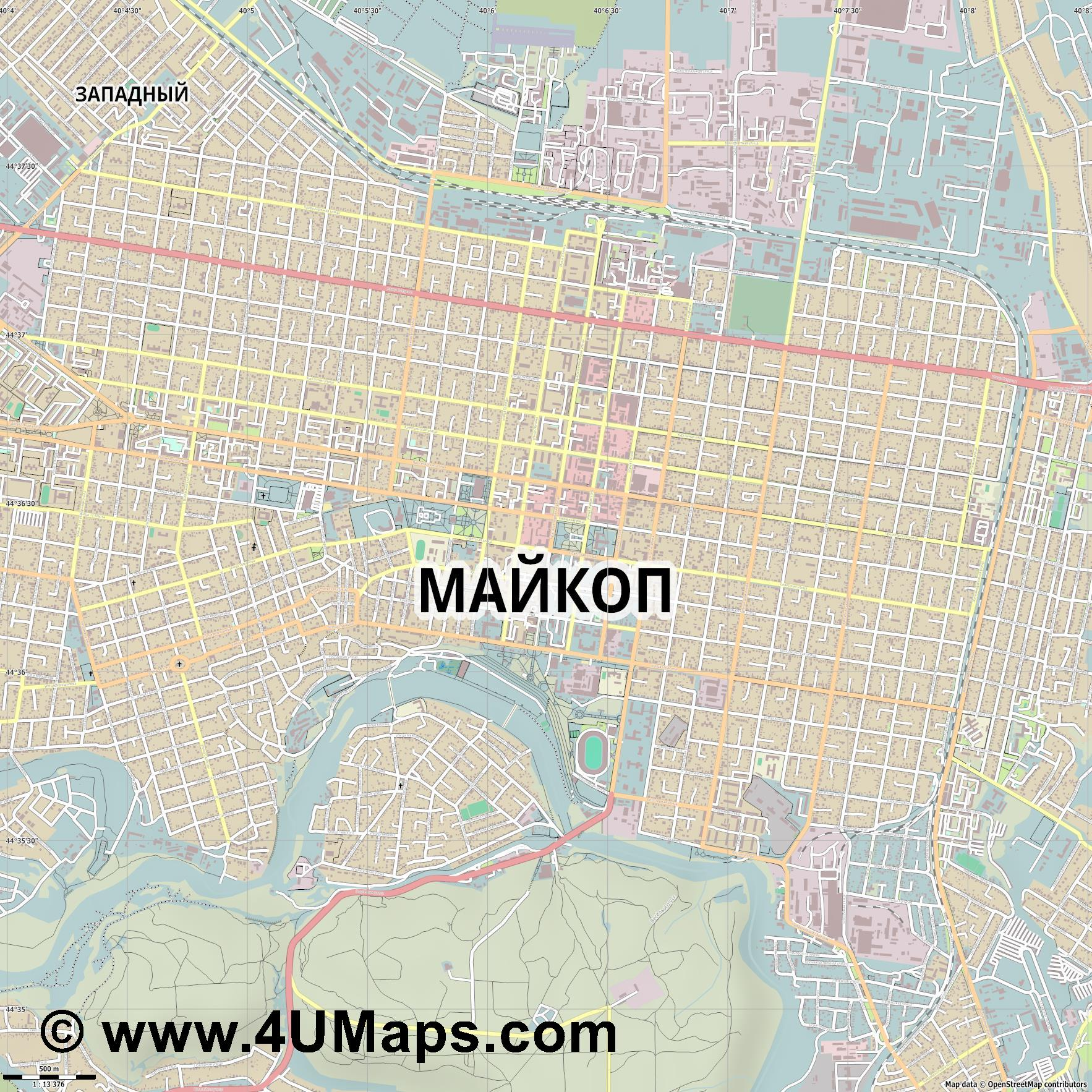 Майкоп Maykop Maïkop Maikop  jpg ultra high detail preview vector city map