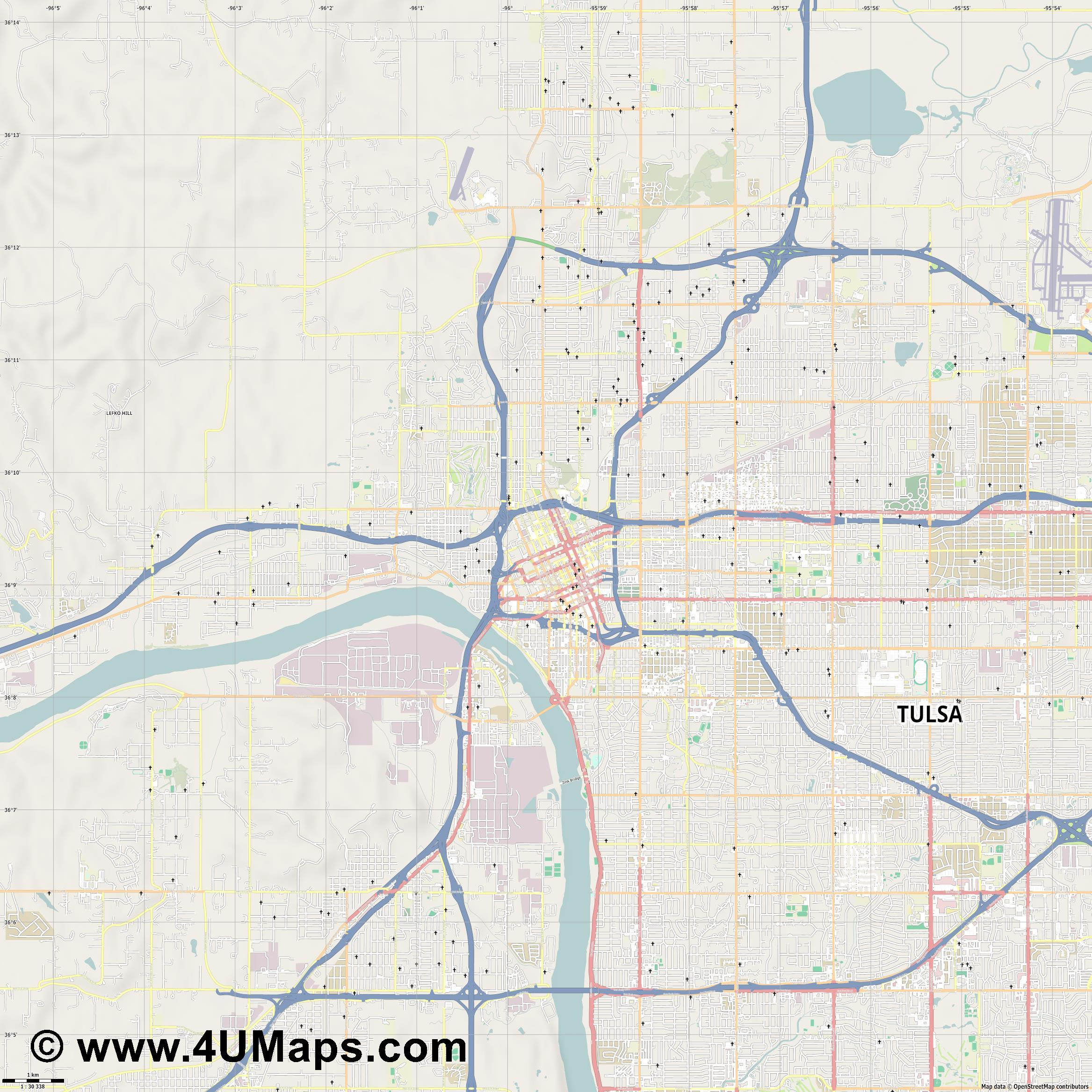 Tulsa  jpg high detail, large area preview vector city map
