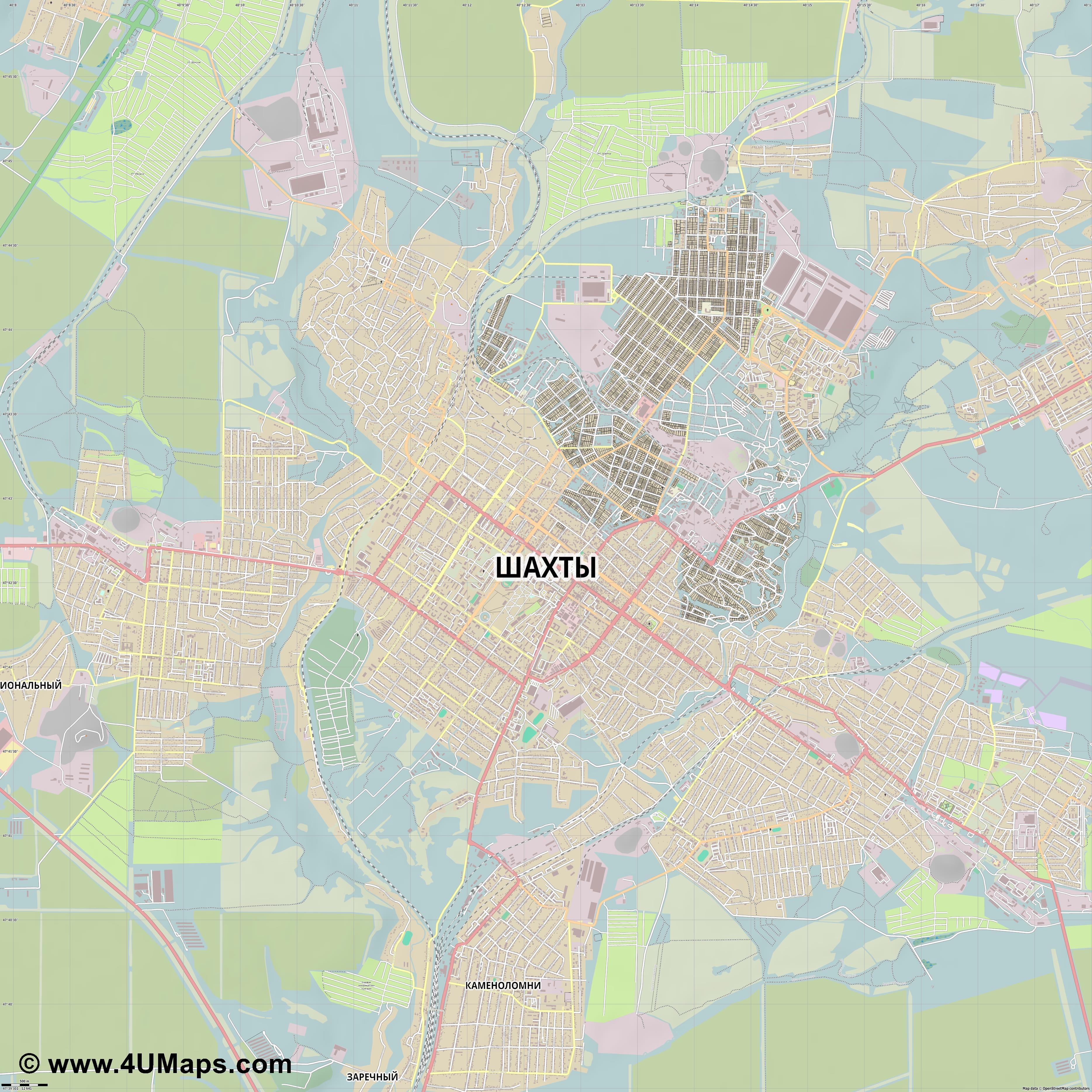 Шахты Shakhty Chakhty Šachty Schachty  jpg ultra high detail preview vector city map