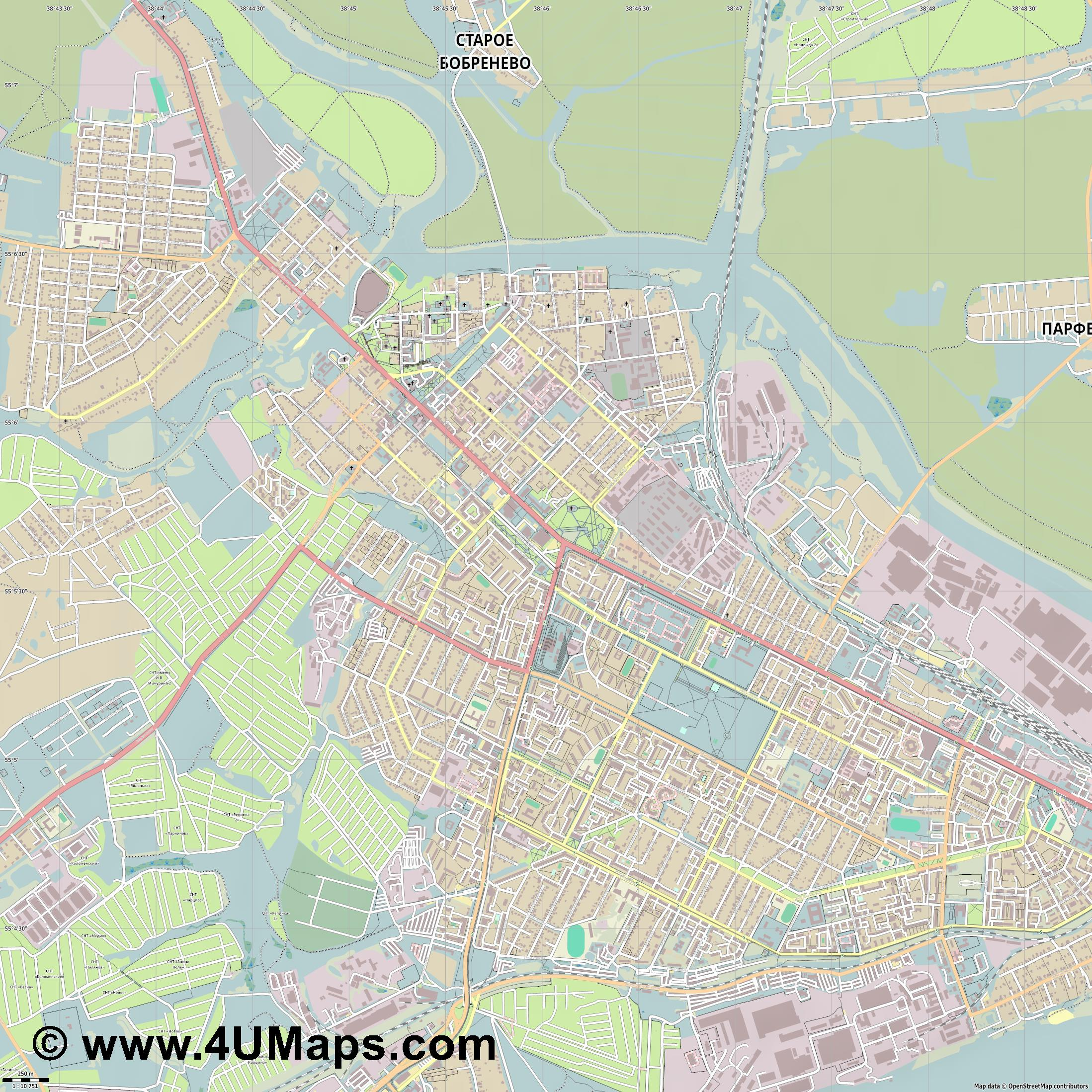Коломна Kolomna  jpg ultra high detail preview vector city map