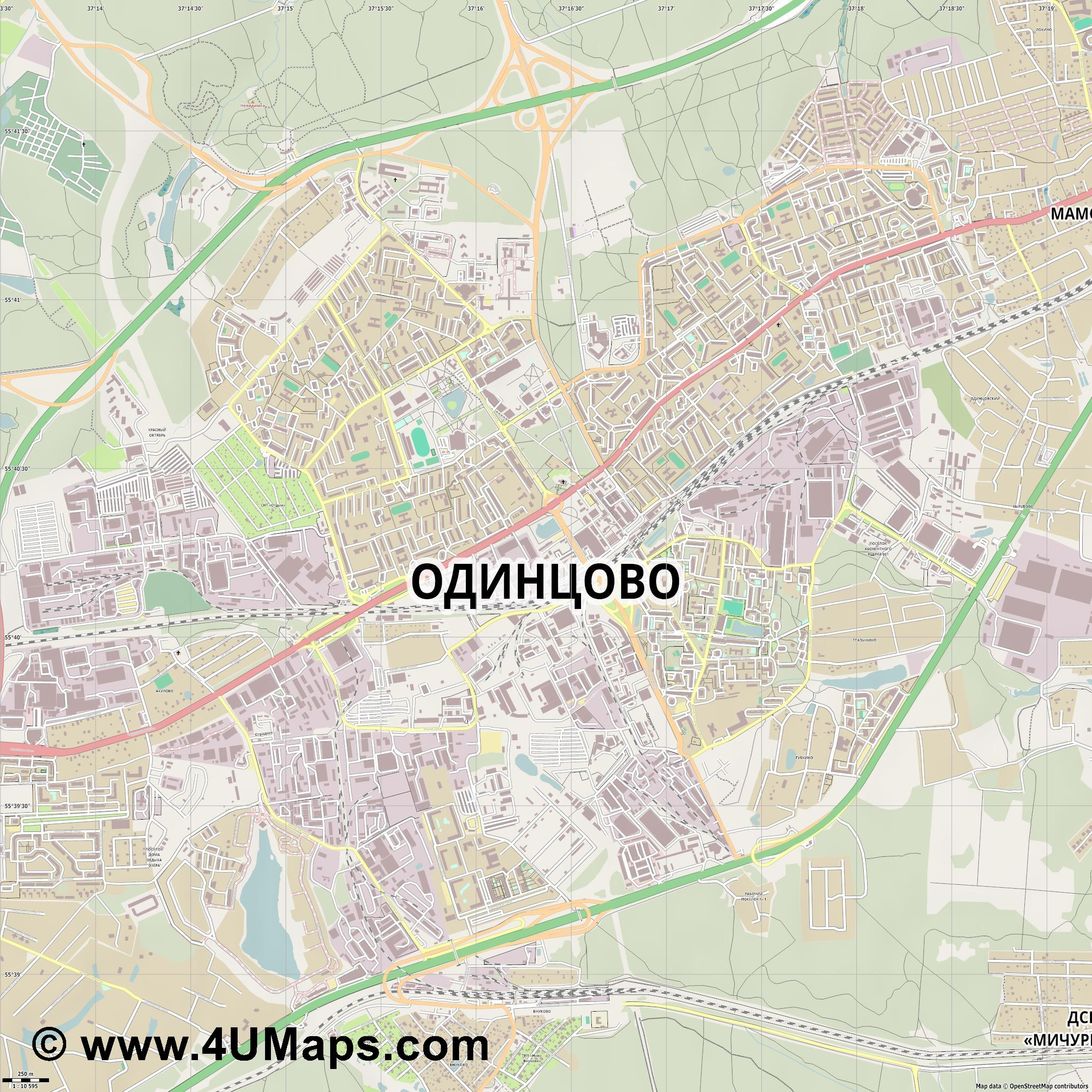 Одинцово Odintsovo Odinzowo  jpg ultra high detail preview vector city map