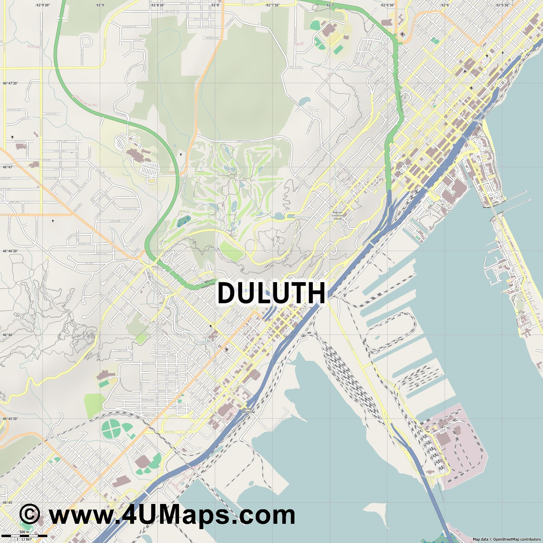 Duluth  jpg ultra high detail preview vector city map