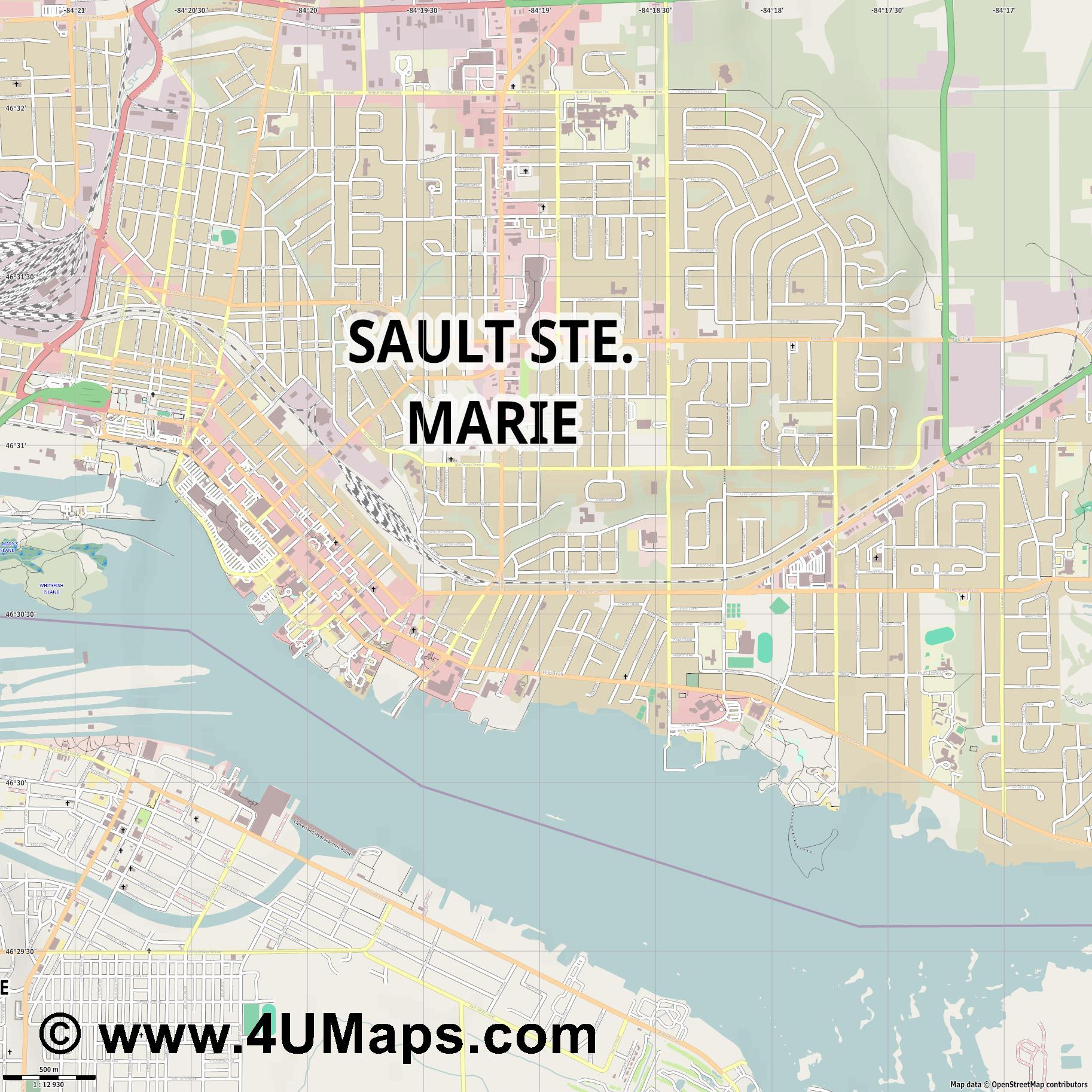 Sault Sainte Marie  jpg ultra high detail preview vector city map