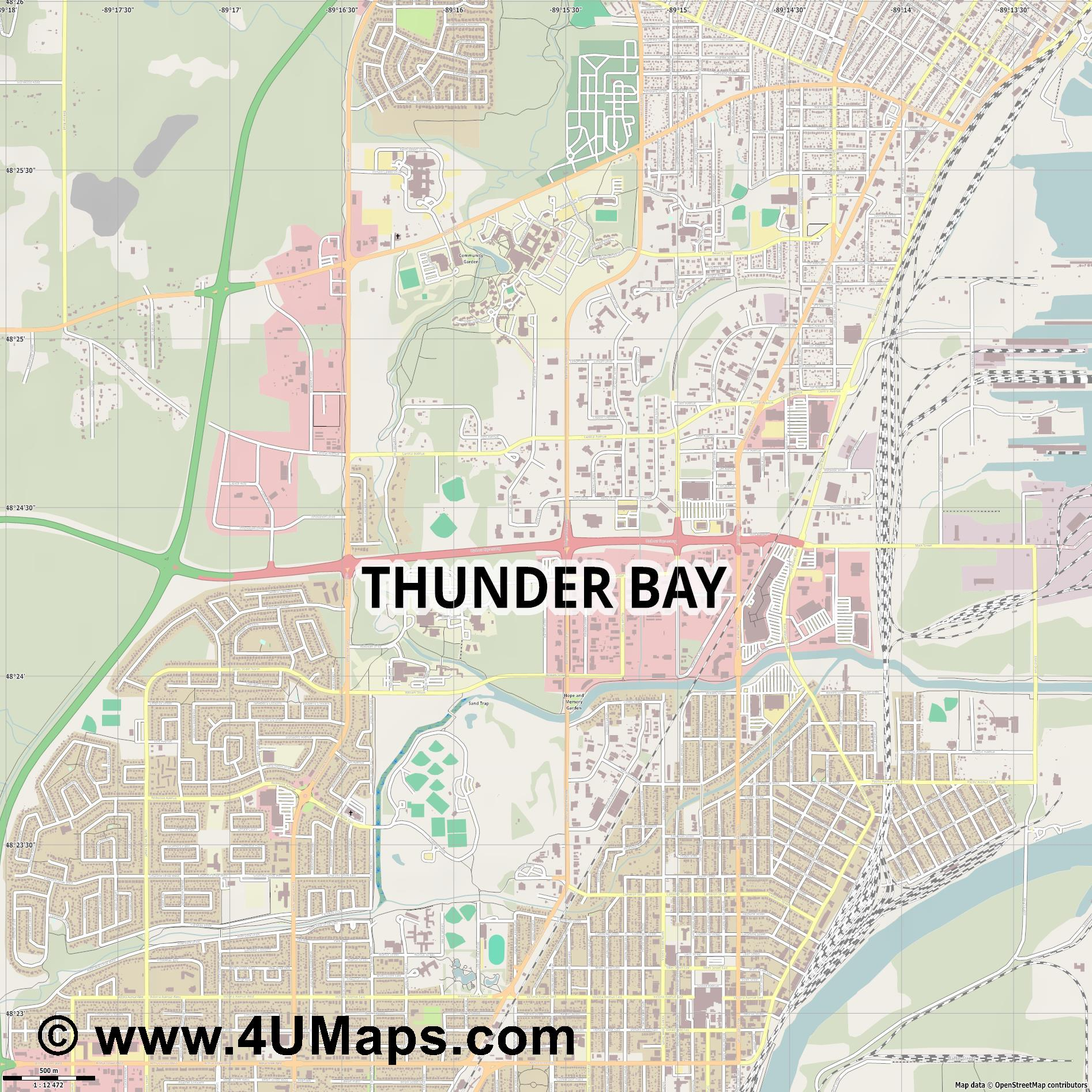 Thunder Bay  jpg ultra high detail preview vector city map
