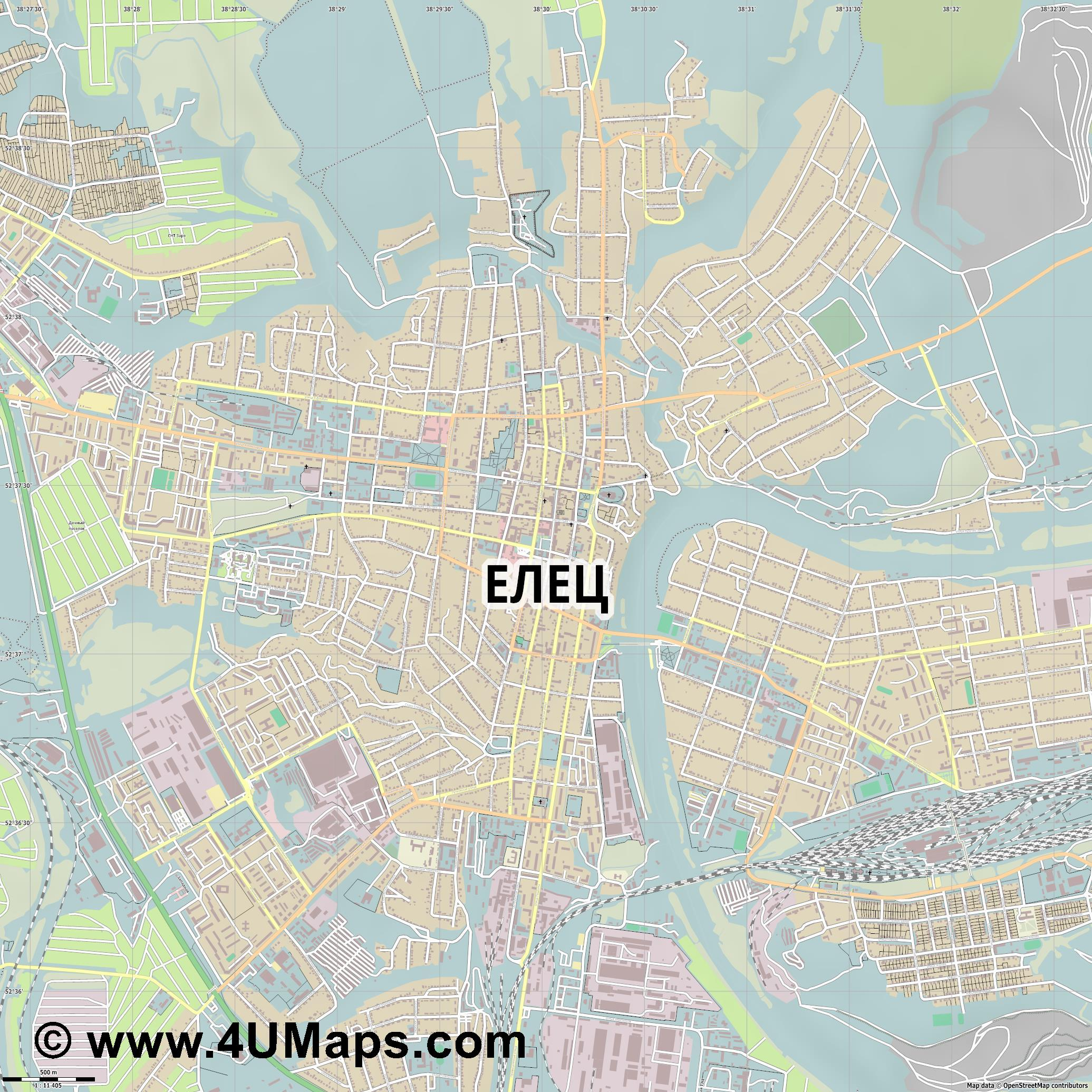 Елец Yelets Elets Jelez  jpg ultra high detail preview vector city map