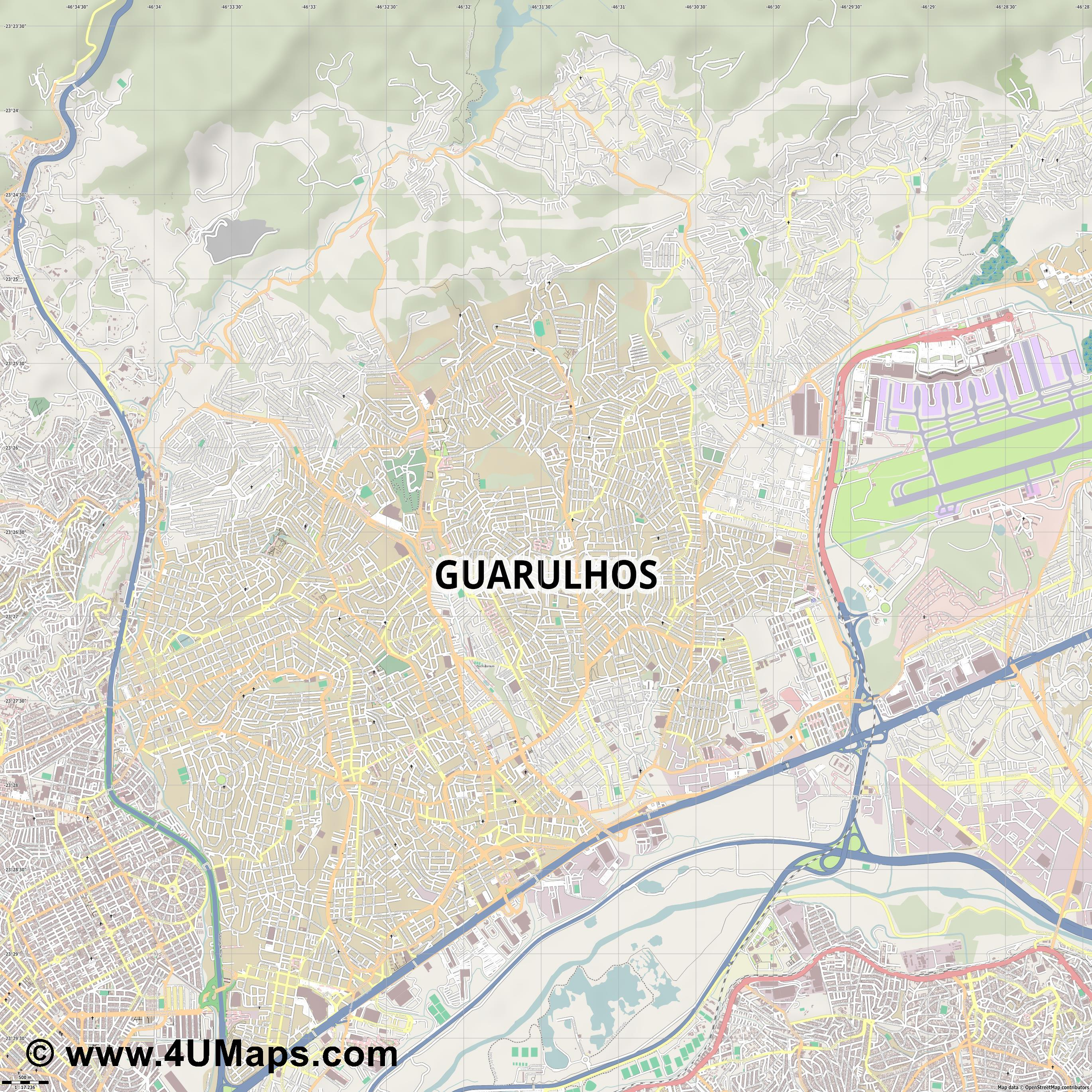 Guarulhos  jpg ultra high detail preview vector city map