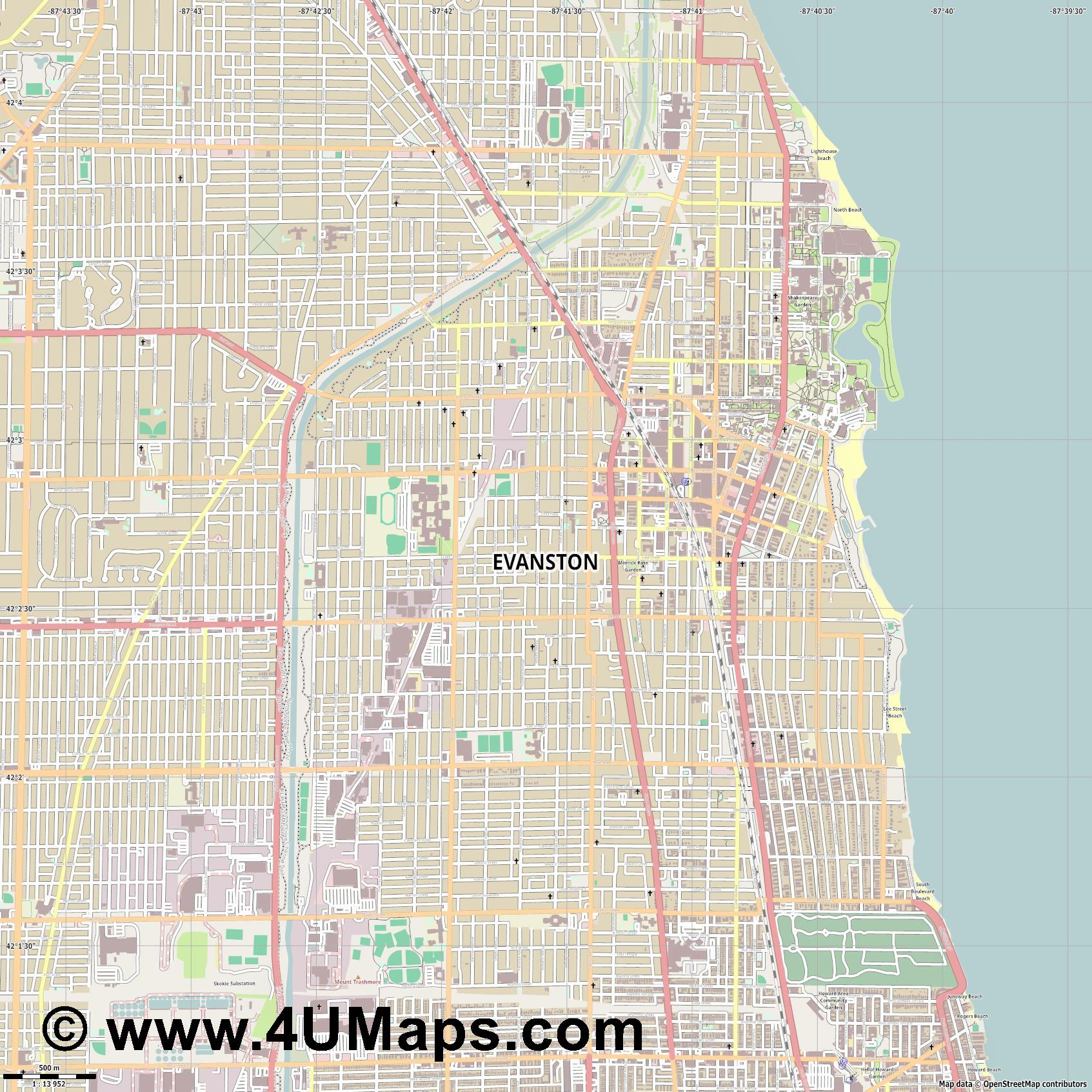 Evanston  jpg ultra high detail preview vector city map