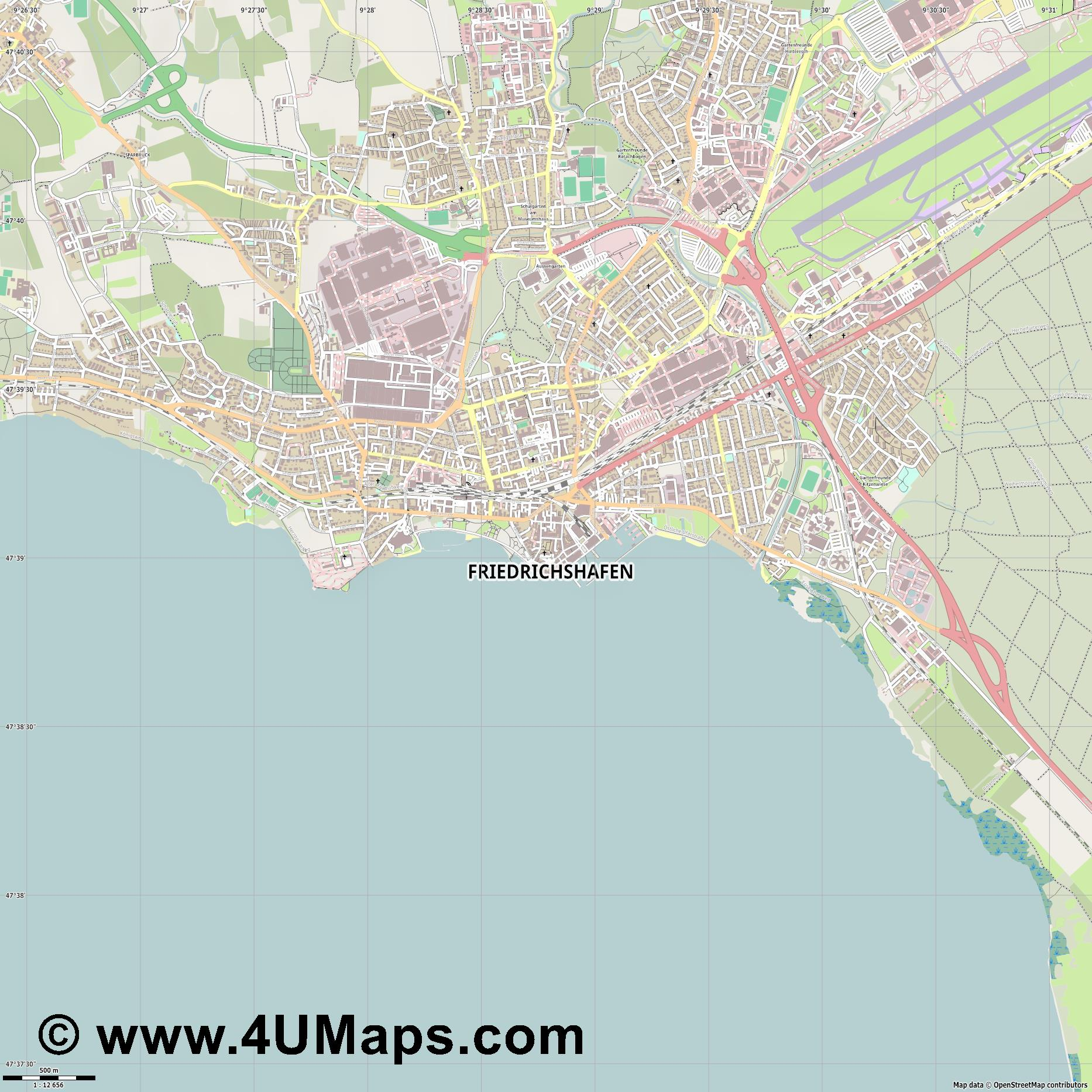Friedrichshafen  jpg ultra high detail preview vector city map