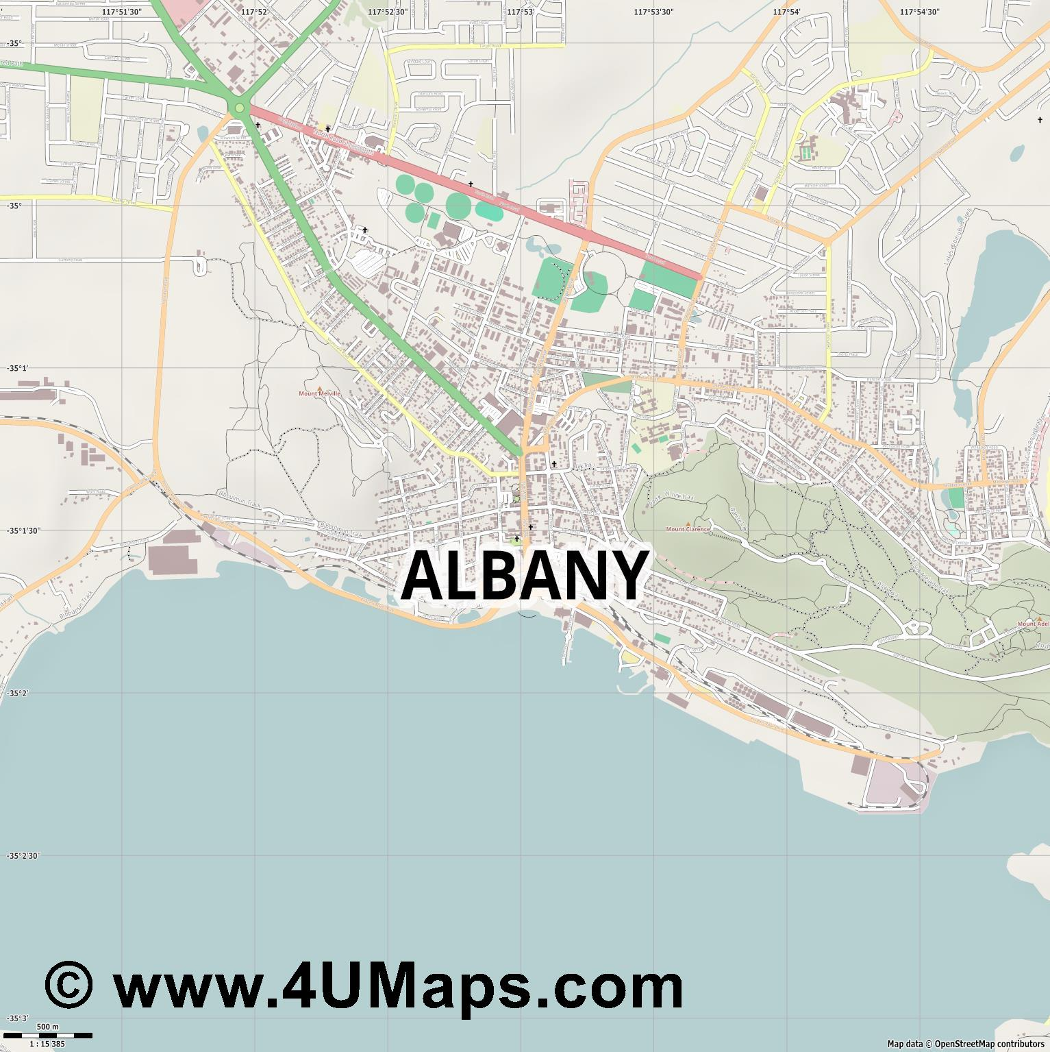 Albany  jpg ultra high detail preview vector city map