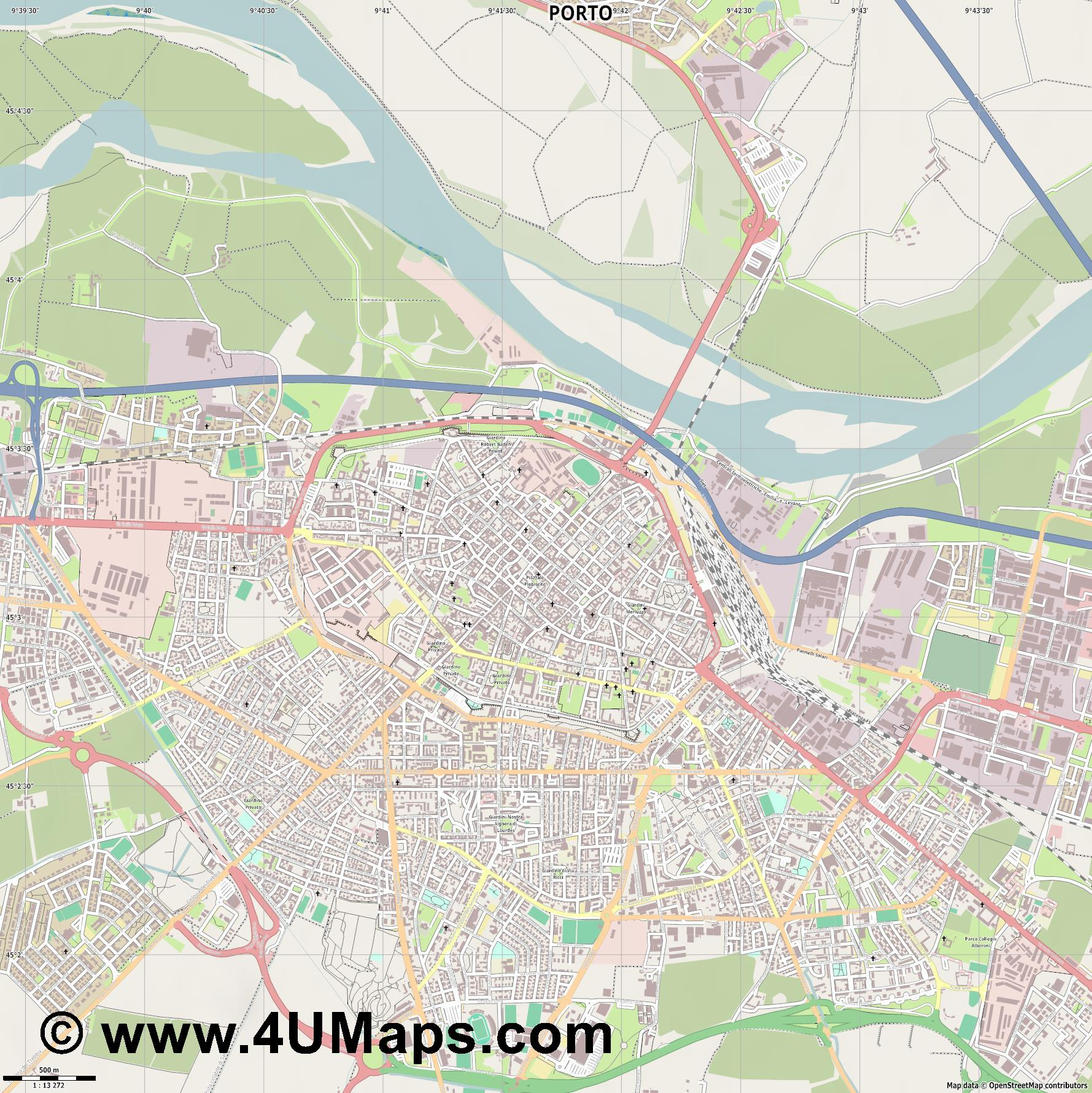 Piacenza Plasencia Plaisance  jpg ultra high detail preview vector city map