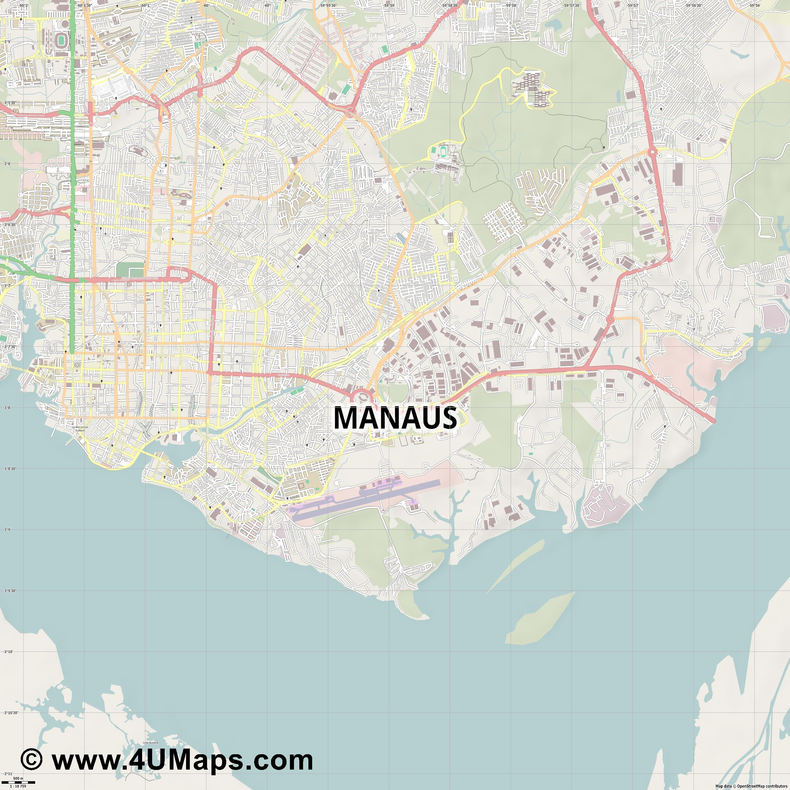 PDF, Svg Scalable Vector City Map Manaus