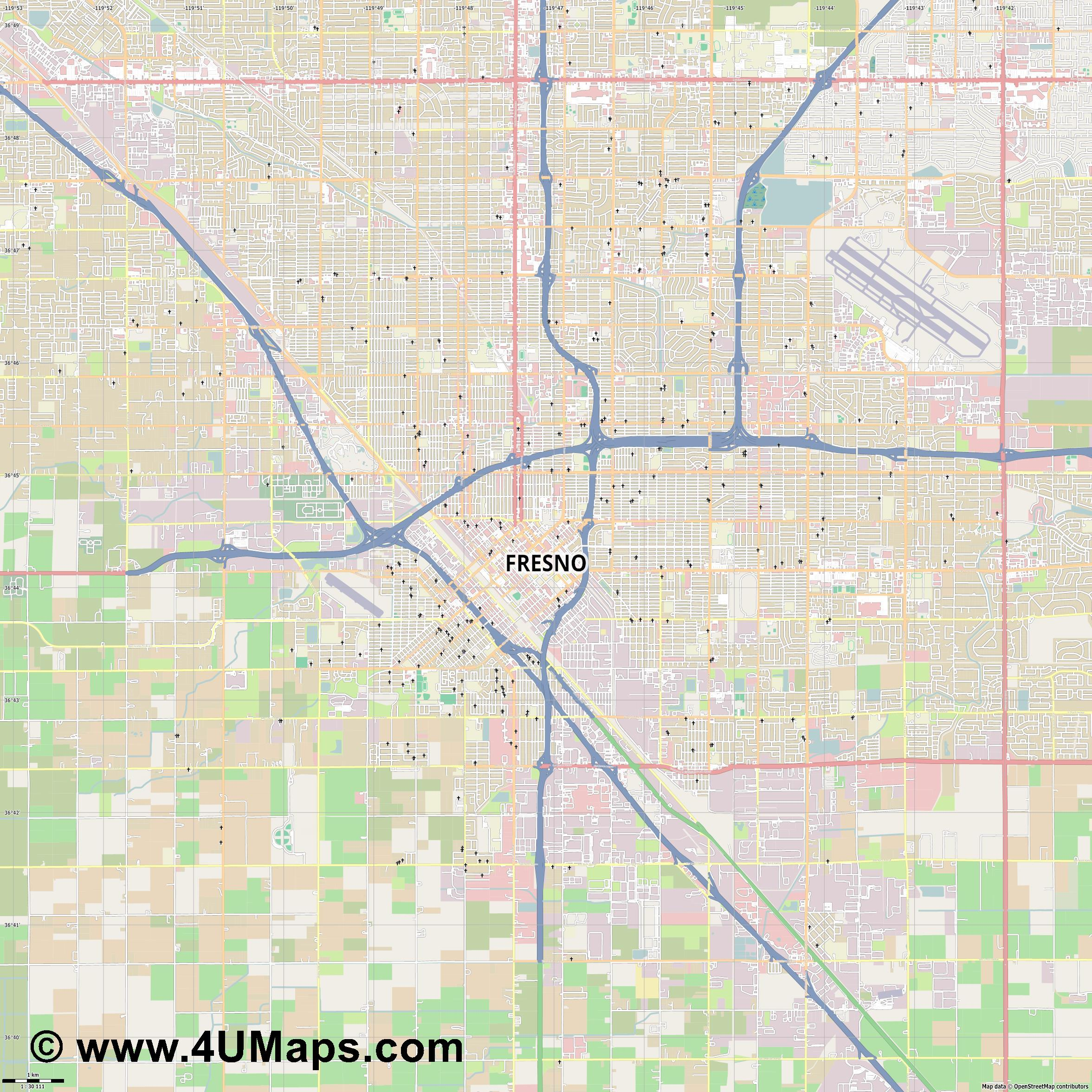 Fresno  jpg high detail, large area preview vector city map