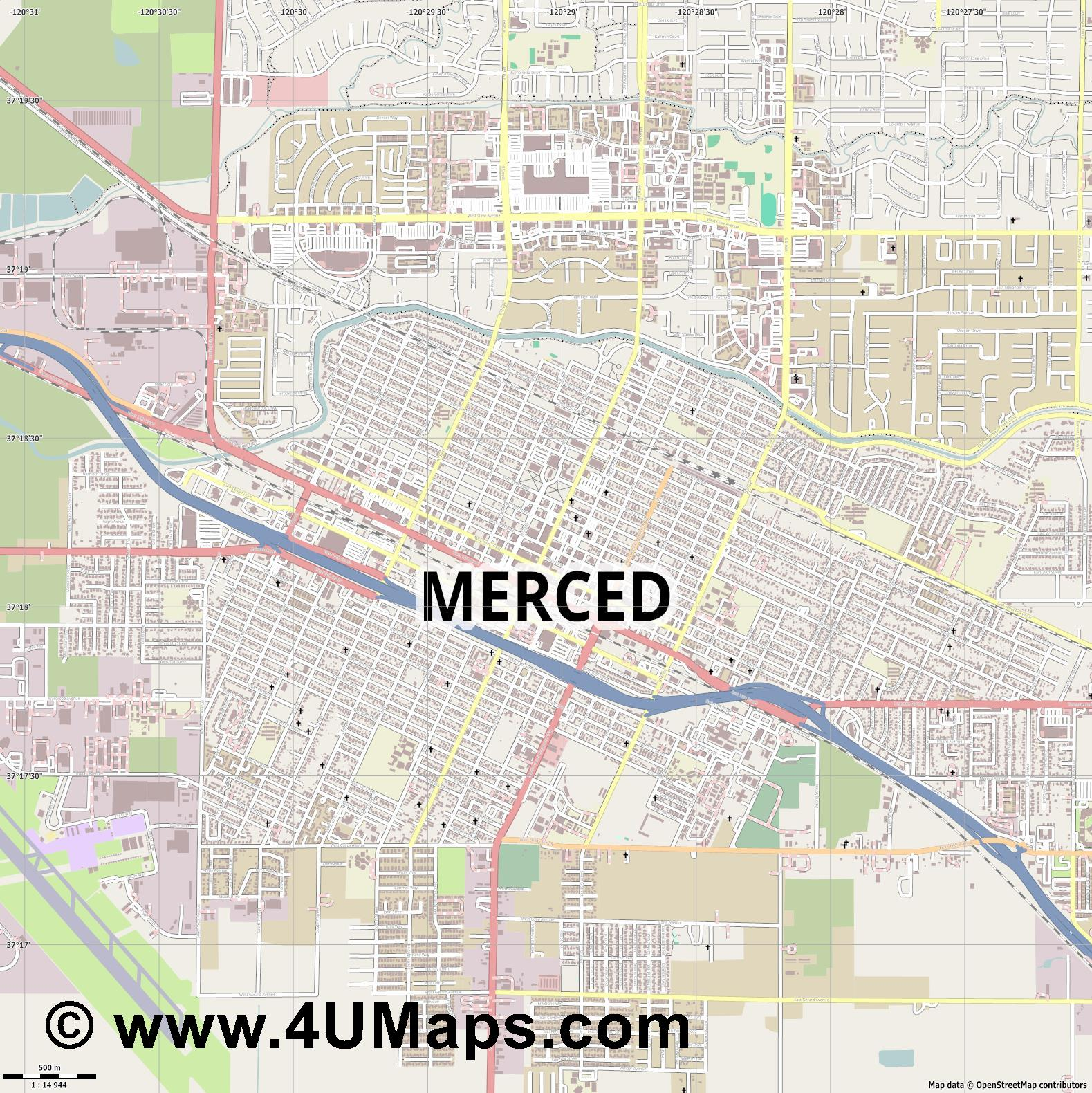 Merced  jpg ultra high detail preview vector city map