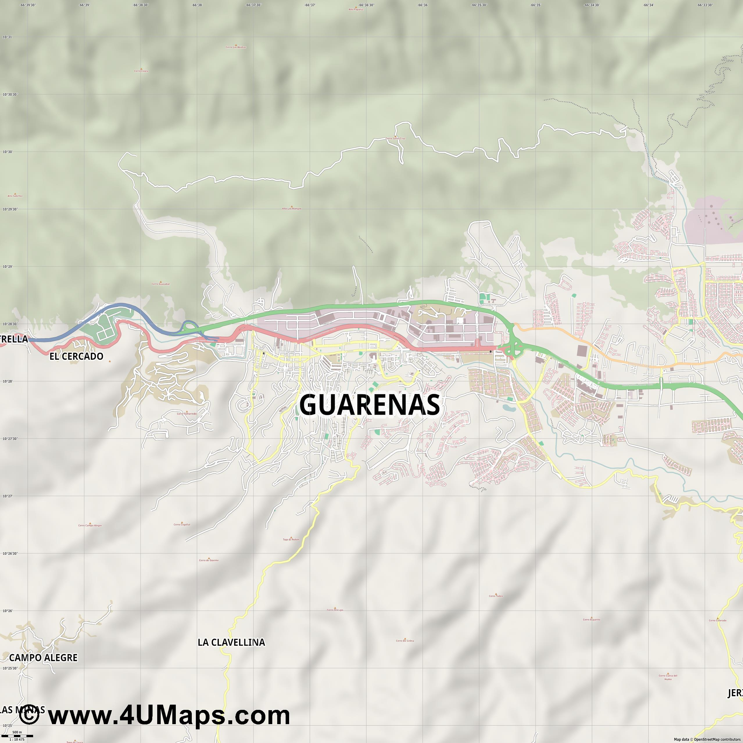 Guarenas  jpg ultra high detail preview vector city map