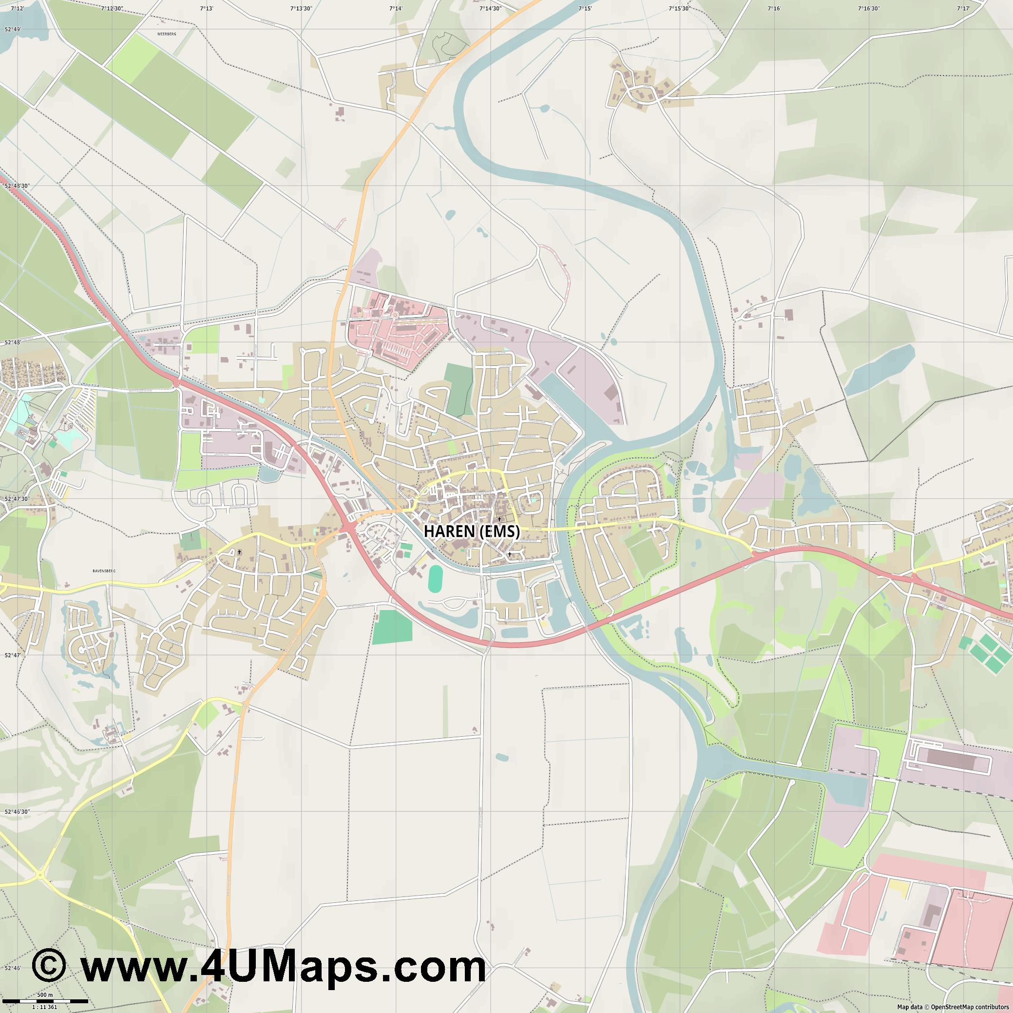 Haren  Ems   jpg ultra high detail preview vector city map