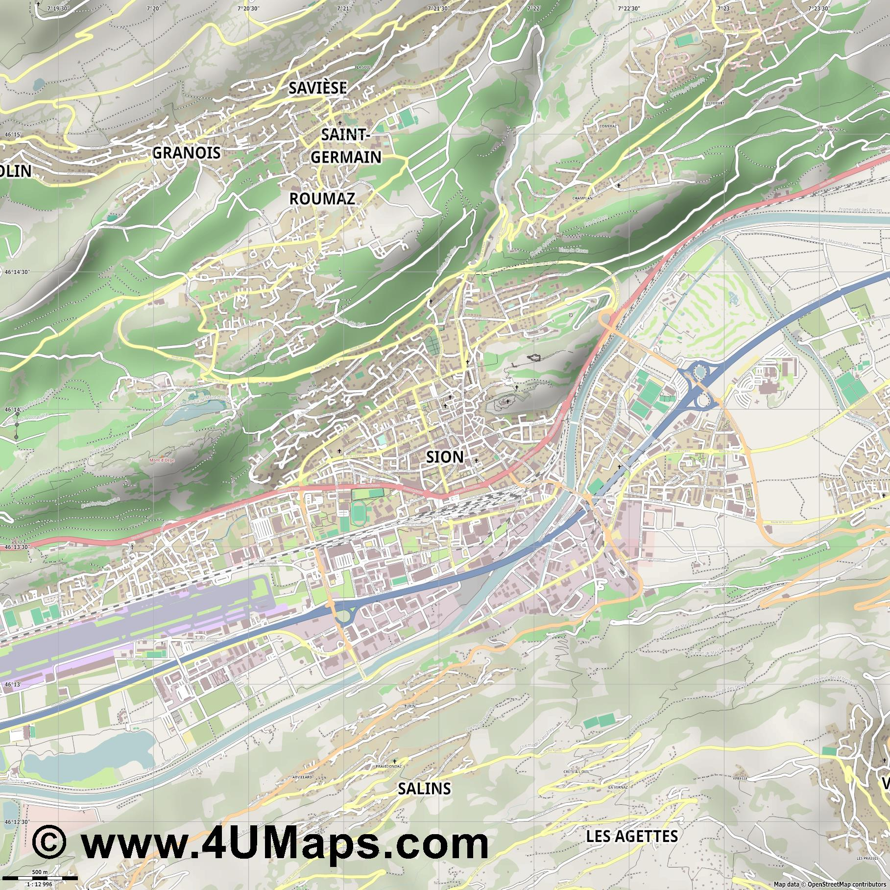 Sion   Sitten  jpg ultra high detail preview vector city map