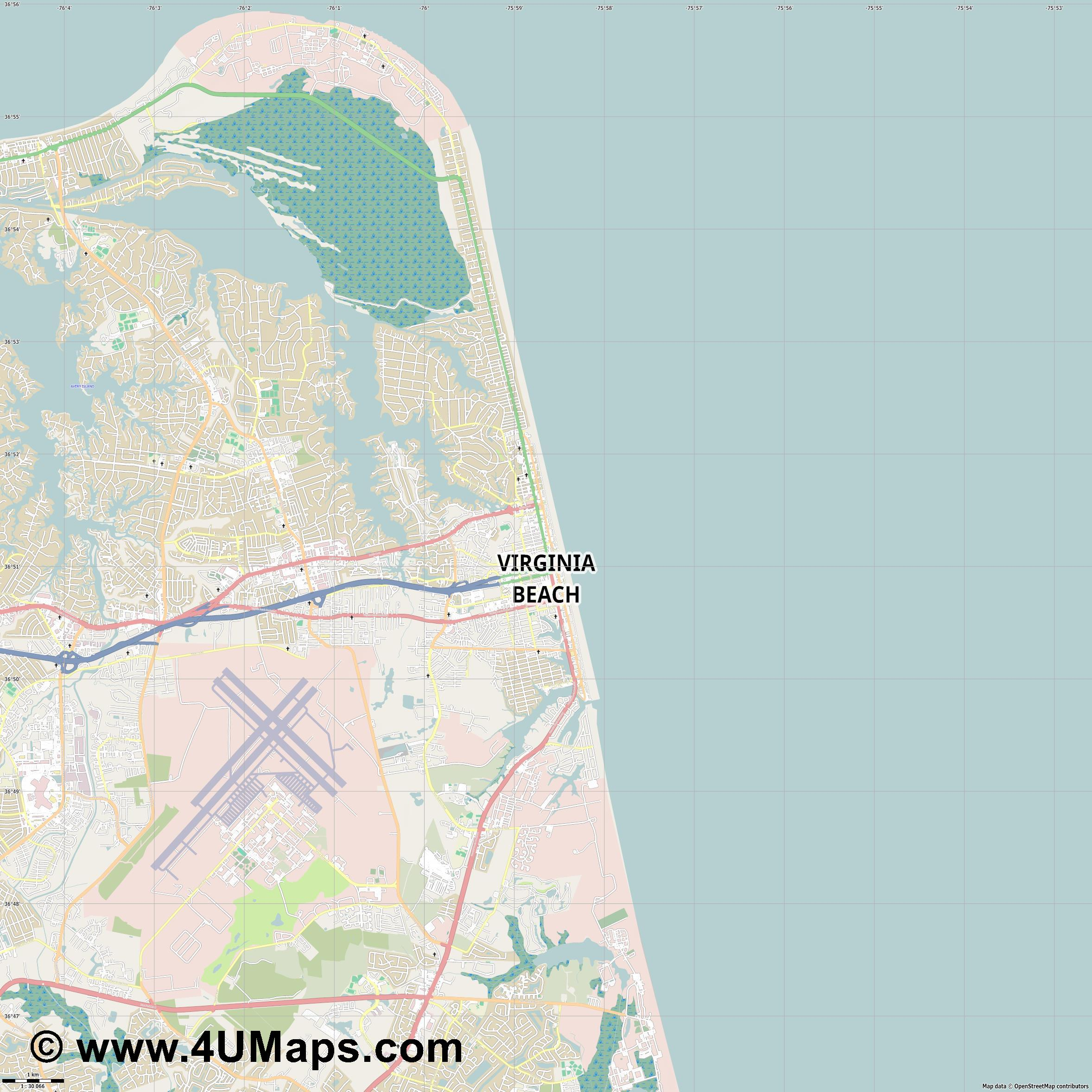 Virginia Beach  jpg high detail, large area preview vector city map