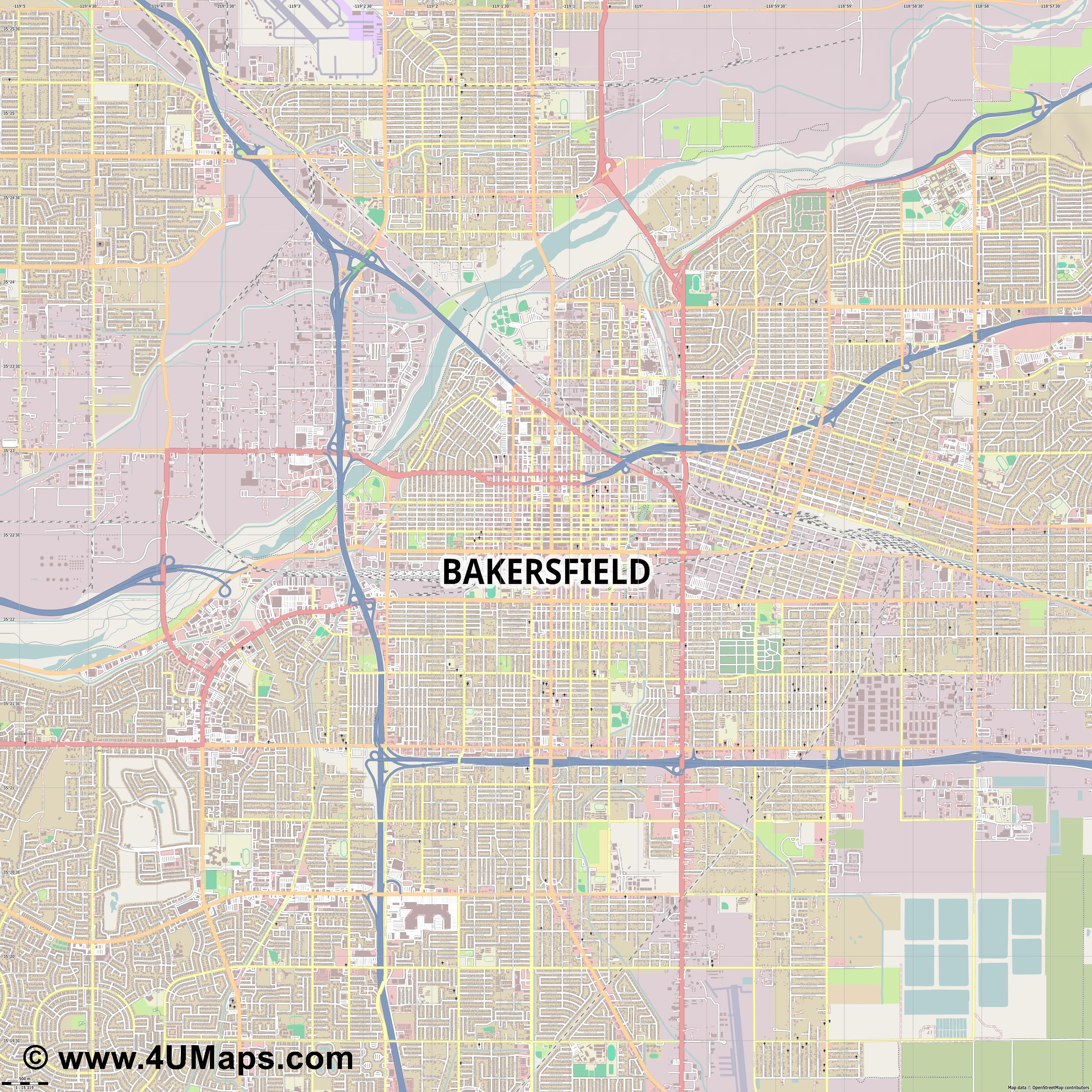 Bakersfield  jpg ultra high detail preview vector city map