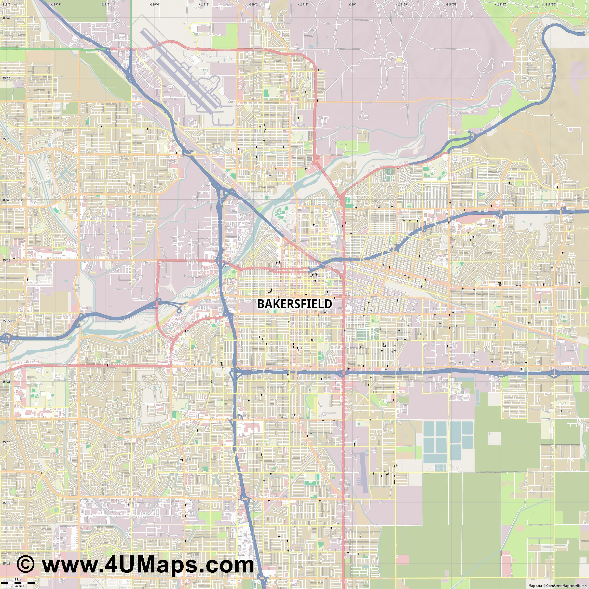 Bakersfield  jpg high detail, large area preview vector city map
