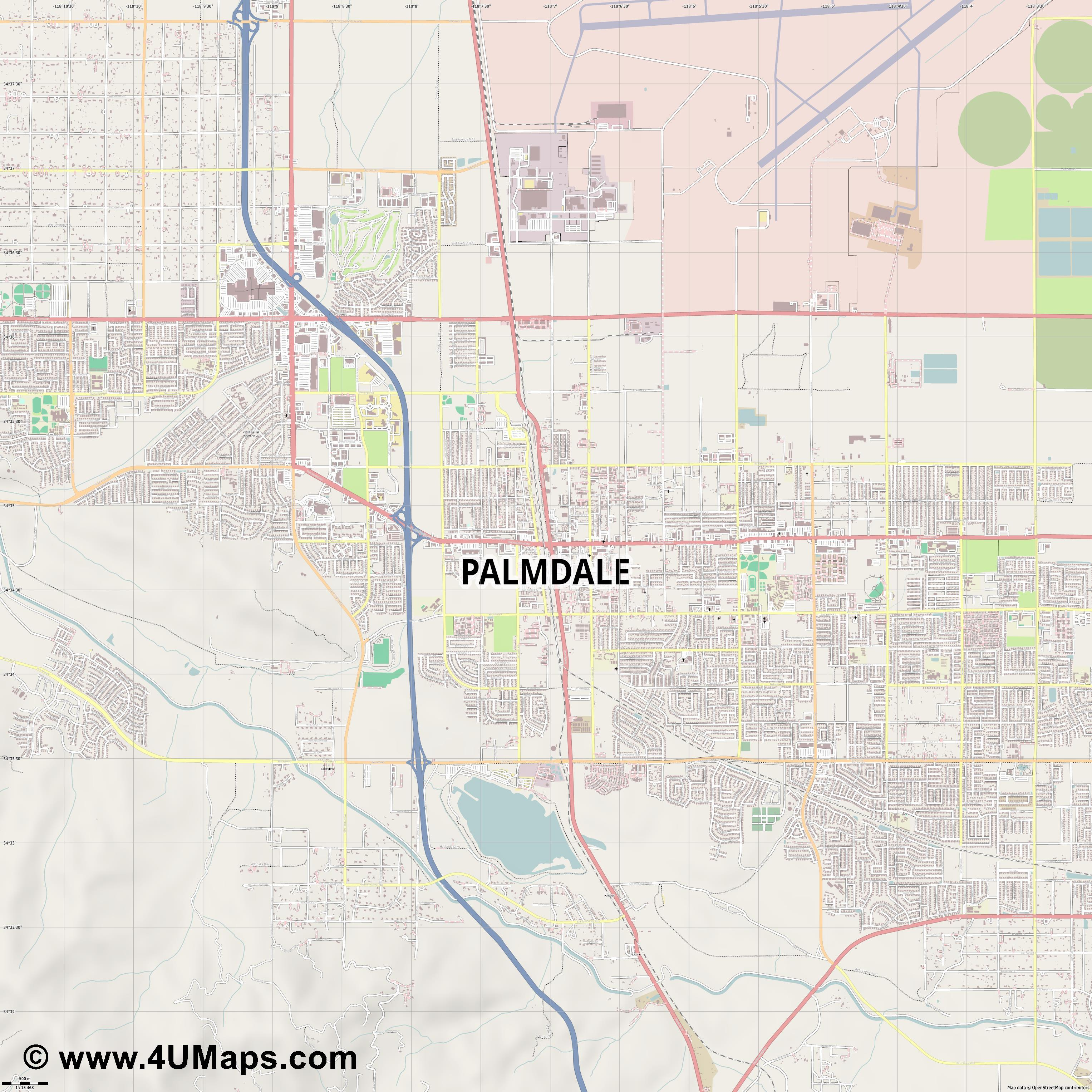 Palmdale  jpg ultra high detail preview vector city map