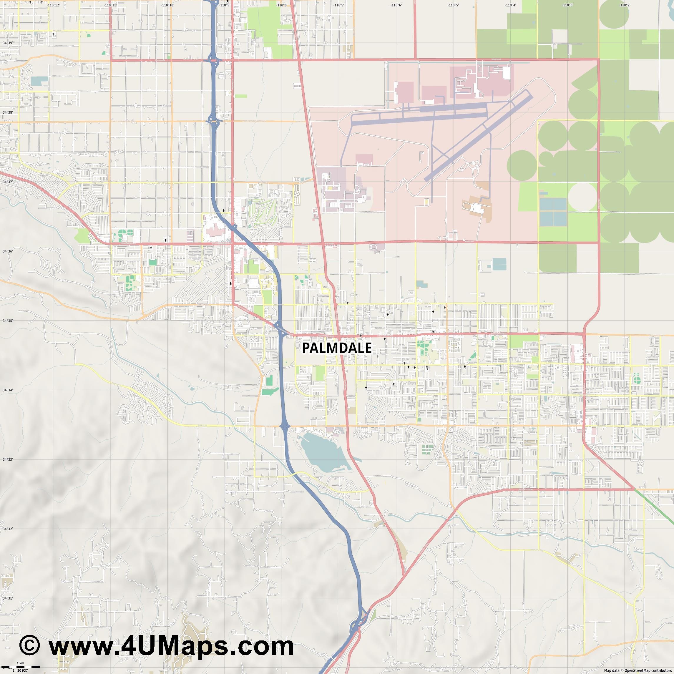 Palmdale  jpg high detail, large area preview vector city map