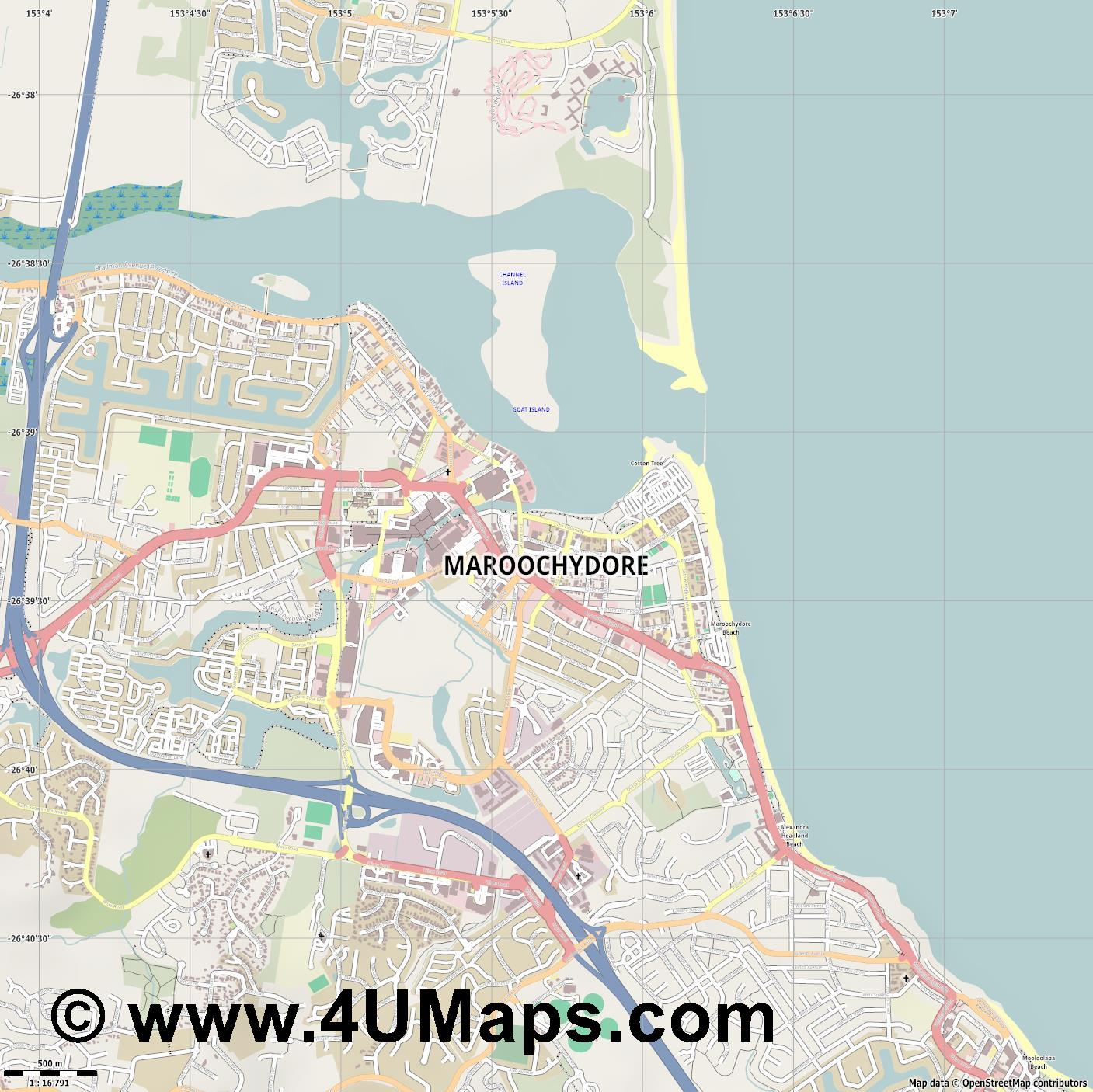 Maroochydore  jpg ultra high detail preview vector city map