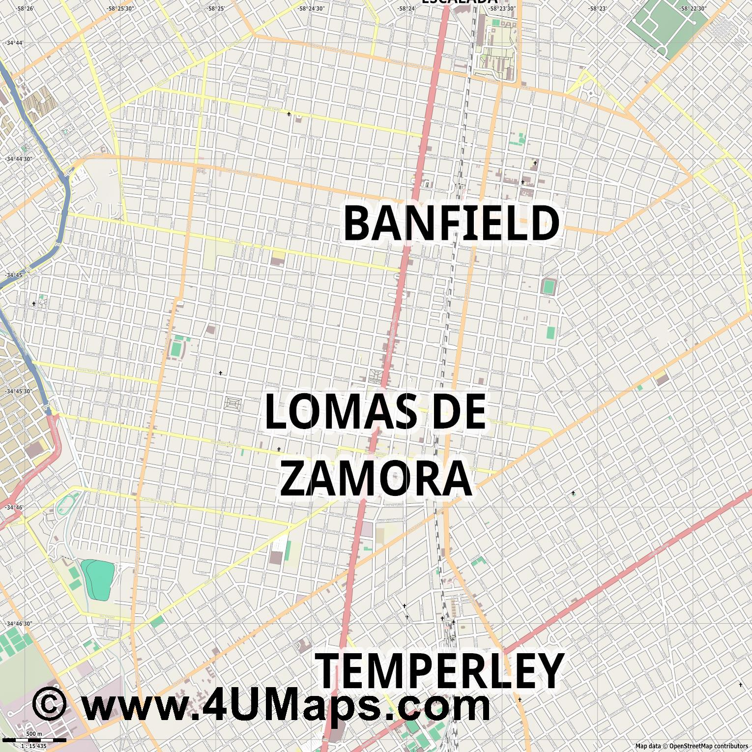 Lomas de Zamora  jpg ultra high detail preview vector city map