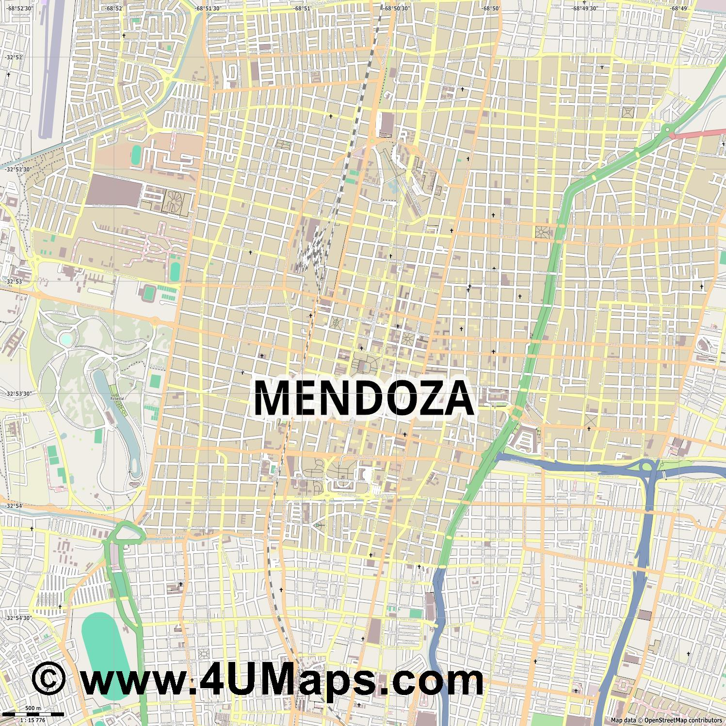 Mendoza  jpg ultra high detail preview vector city map