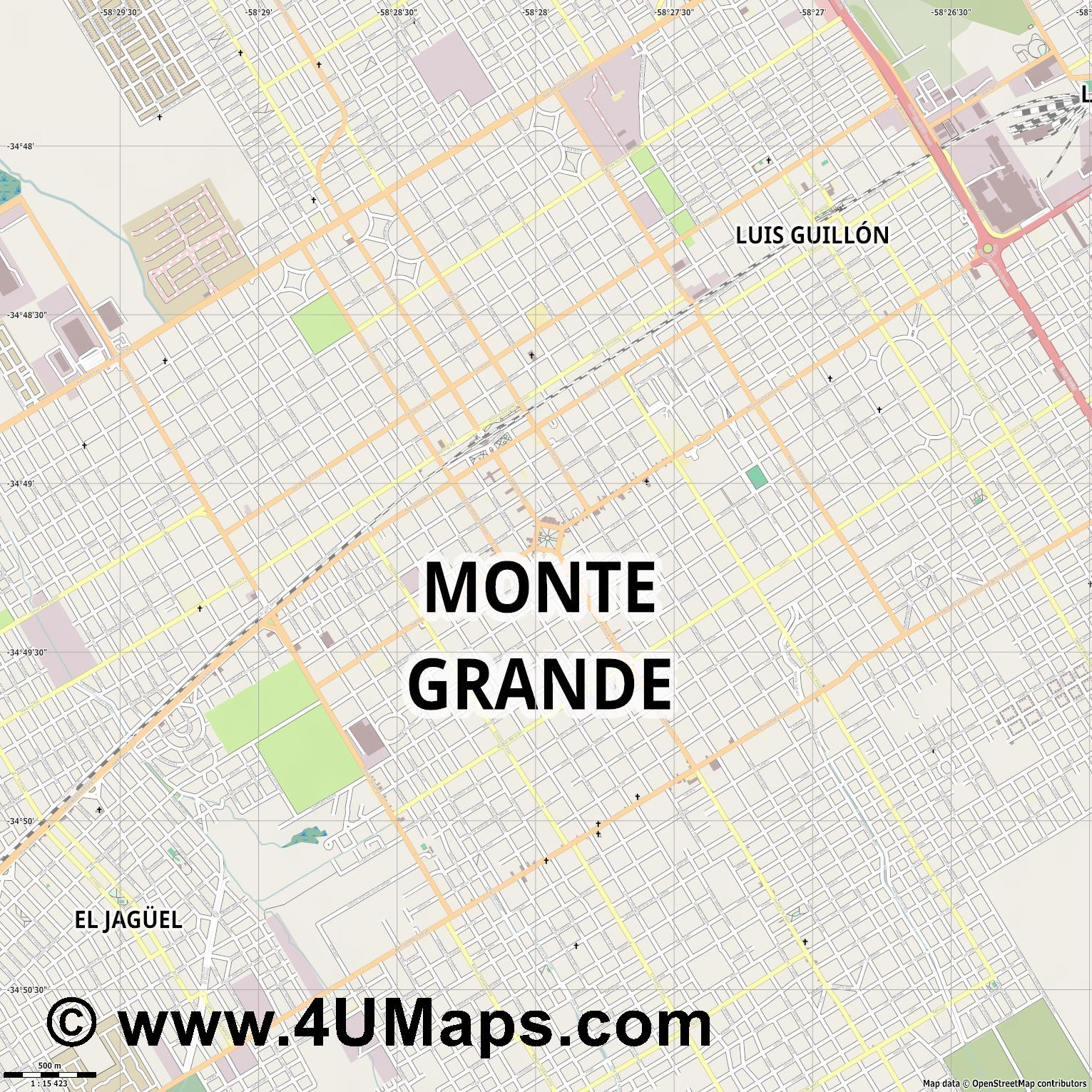Monte Grande  jpg ultra high detail preview vector city map