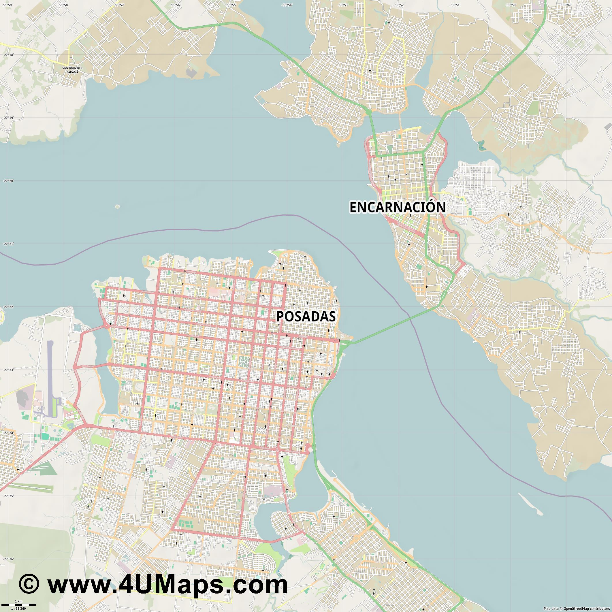 Posadas  jpg high detail, large area preview vector city map