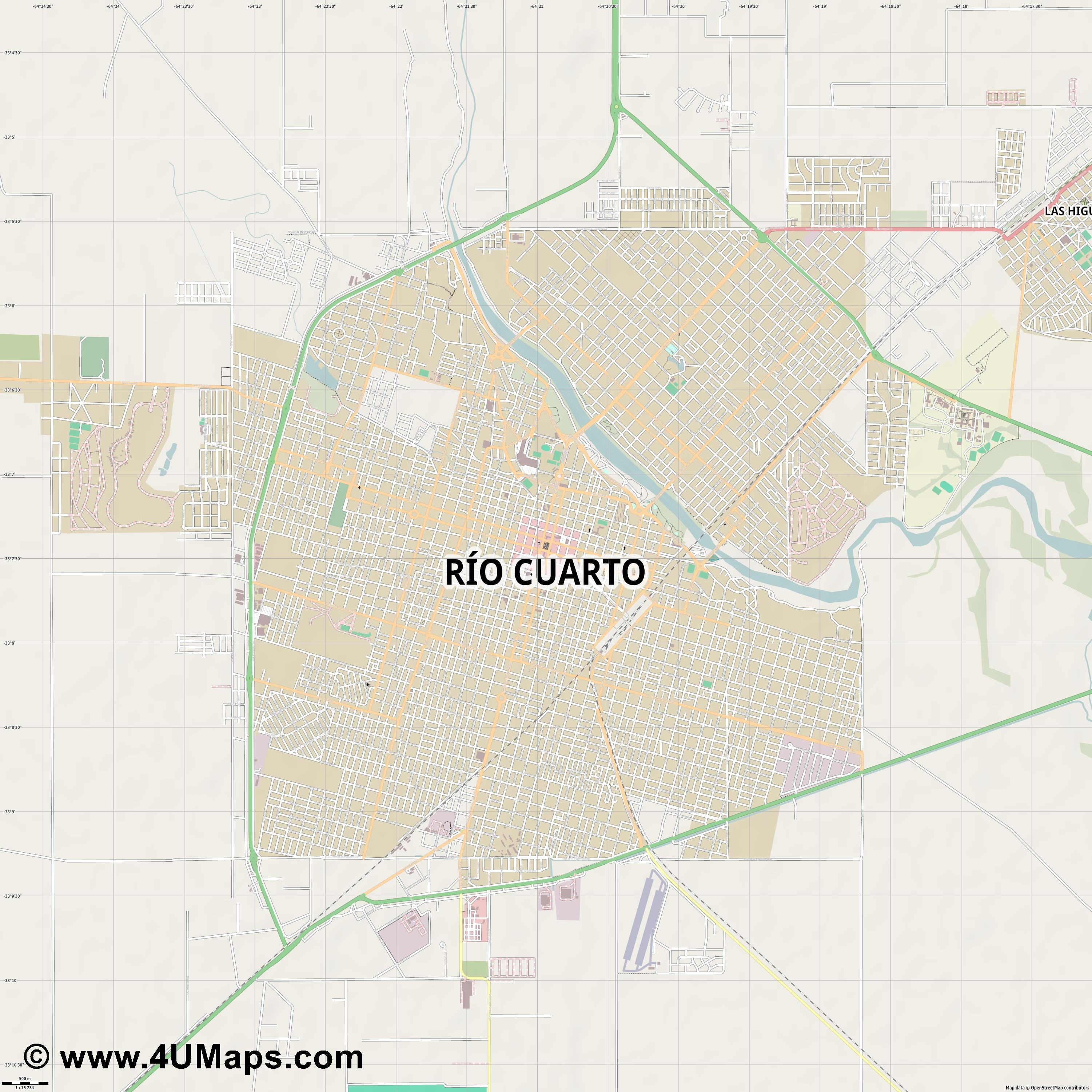 Río Cuarto  jpg ultra high detail preview vector city map
