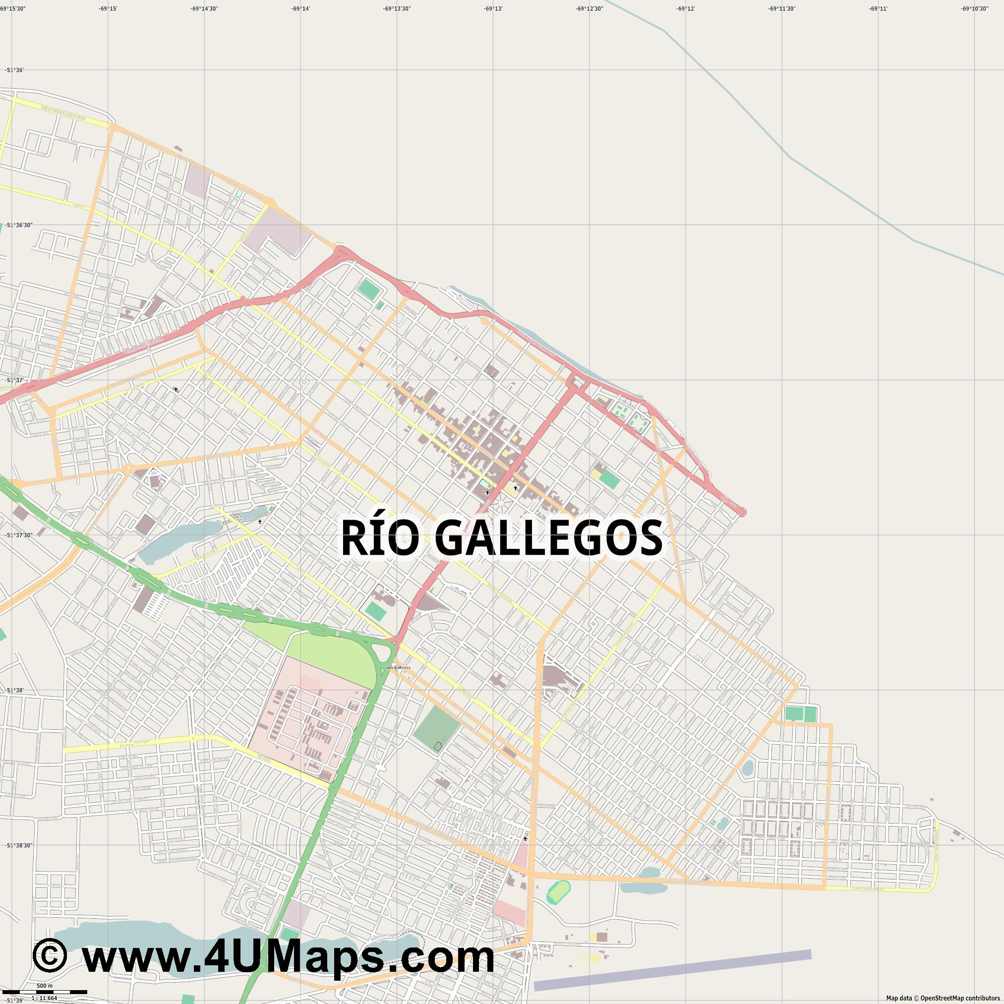 Río Gallegos  jpg ultra high detail preview vector city map