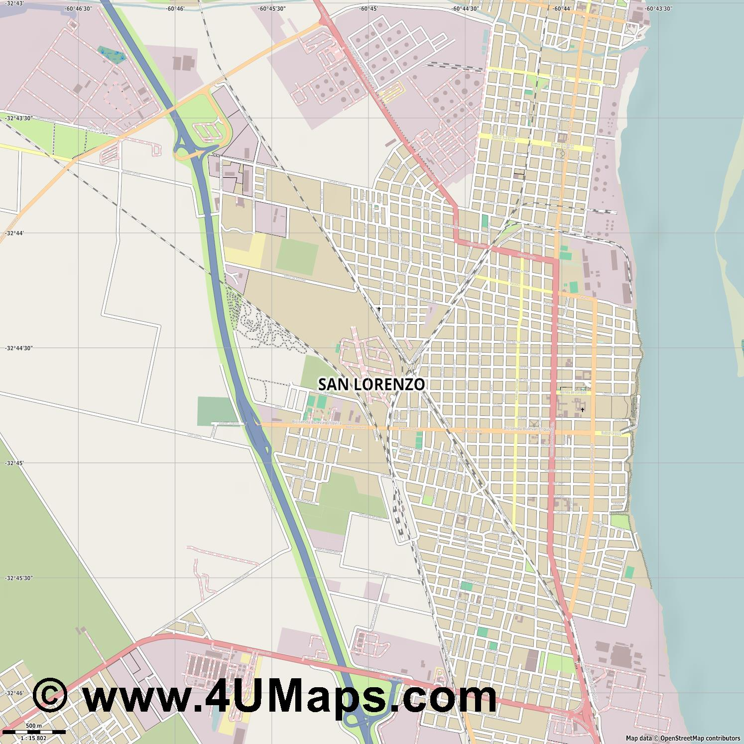San Lorenzo  jpg ultra high detail preview vector city map
