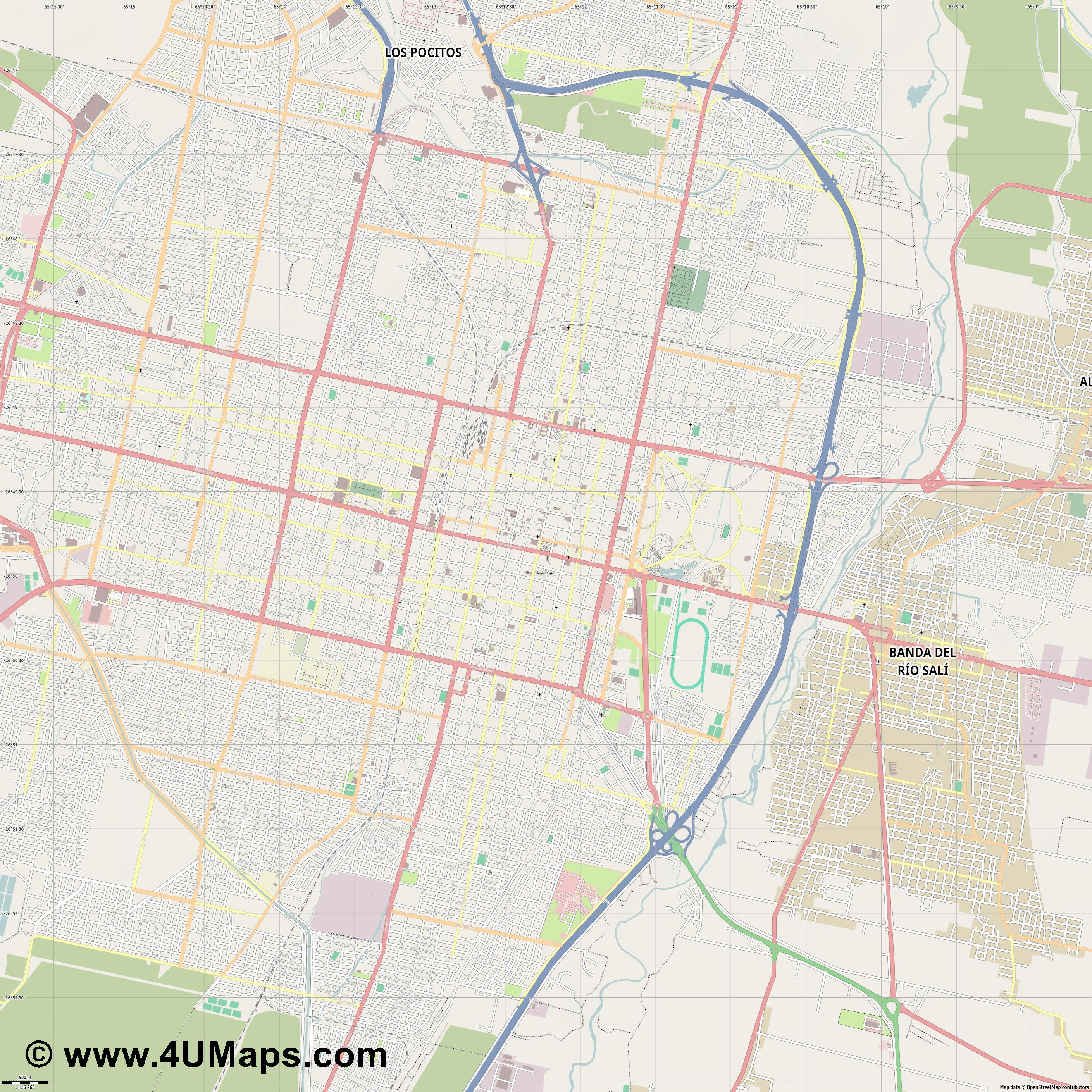 San Miguel de Tucumán  jpg ultra high detail preview vector city map