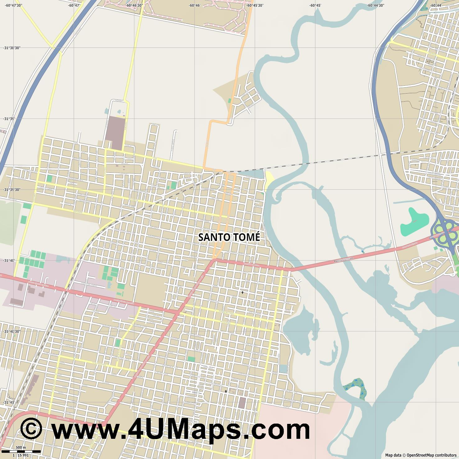 Santo Tomé  jpg ultra high detail preview vector city map