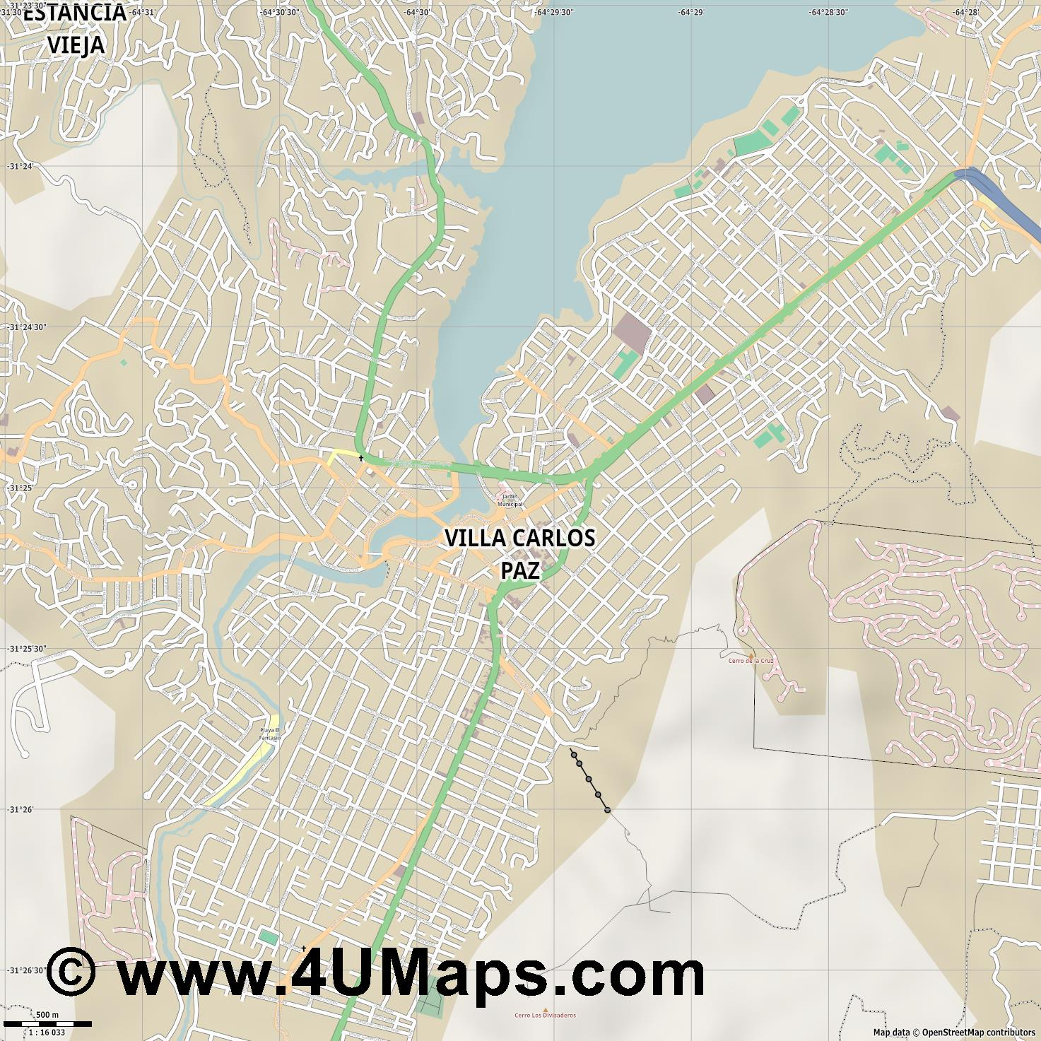Villa Carlos Paz  jpg ultra high detail preview vector city map