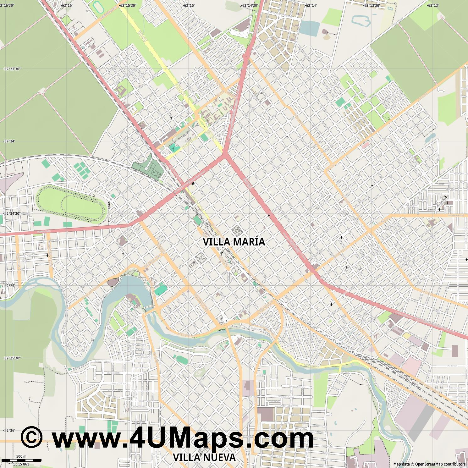 Villa María  jpg ultra high detail preview vector city map