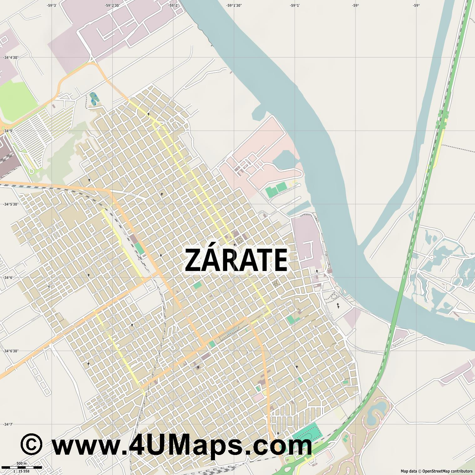 Zárate  jpg ultra high detail preview vector city map