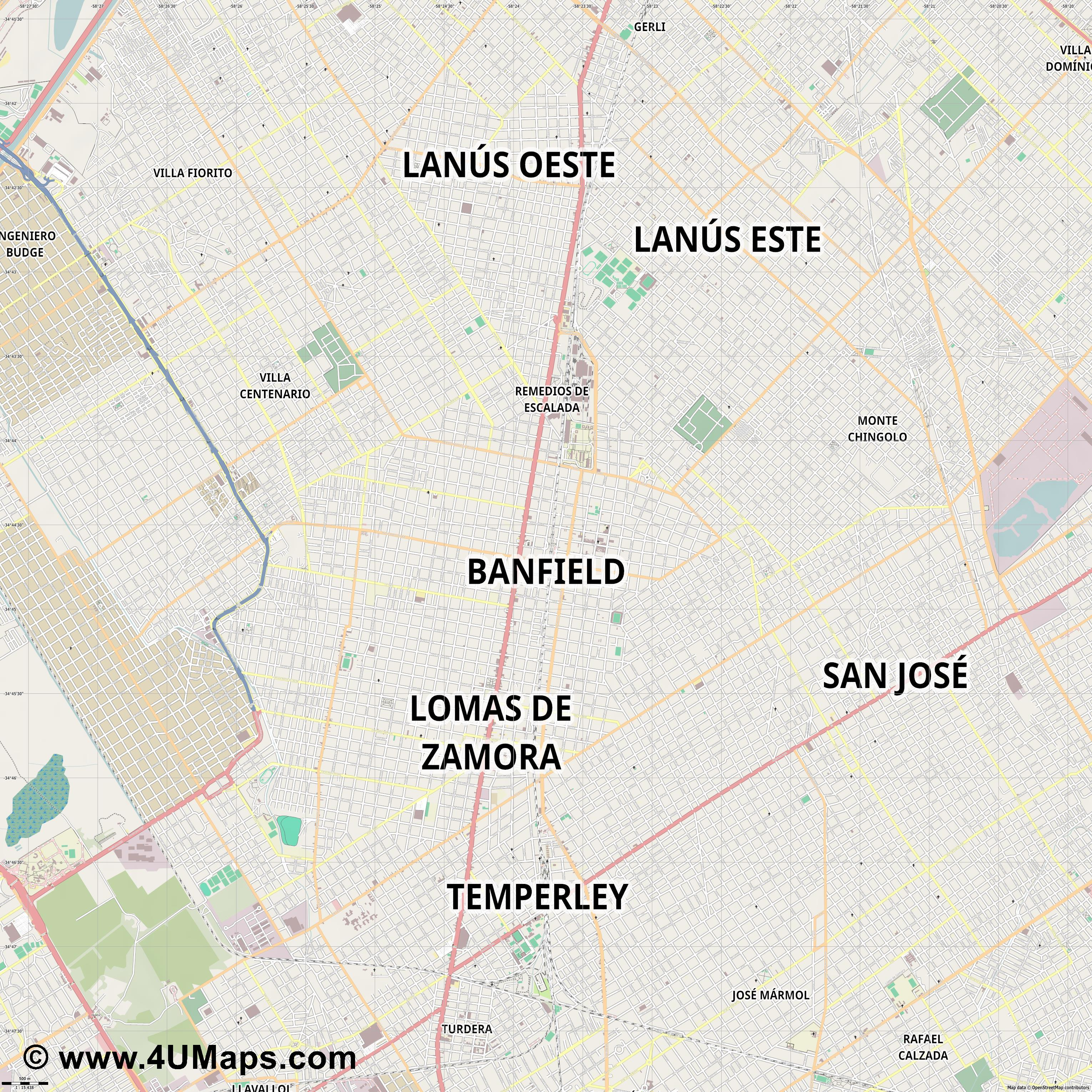 Banfield  jpg ultra high detail preview vector city map