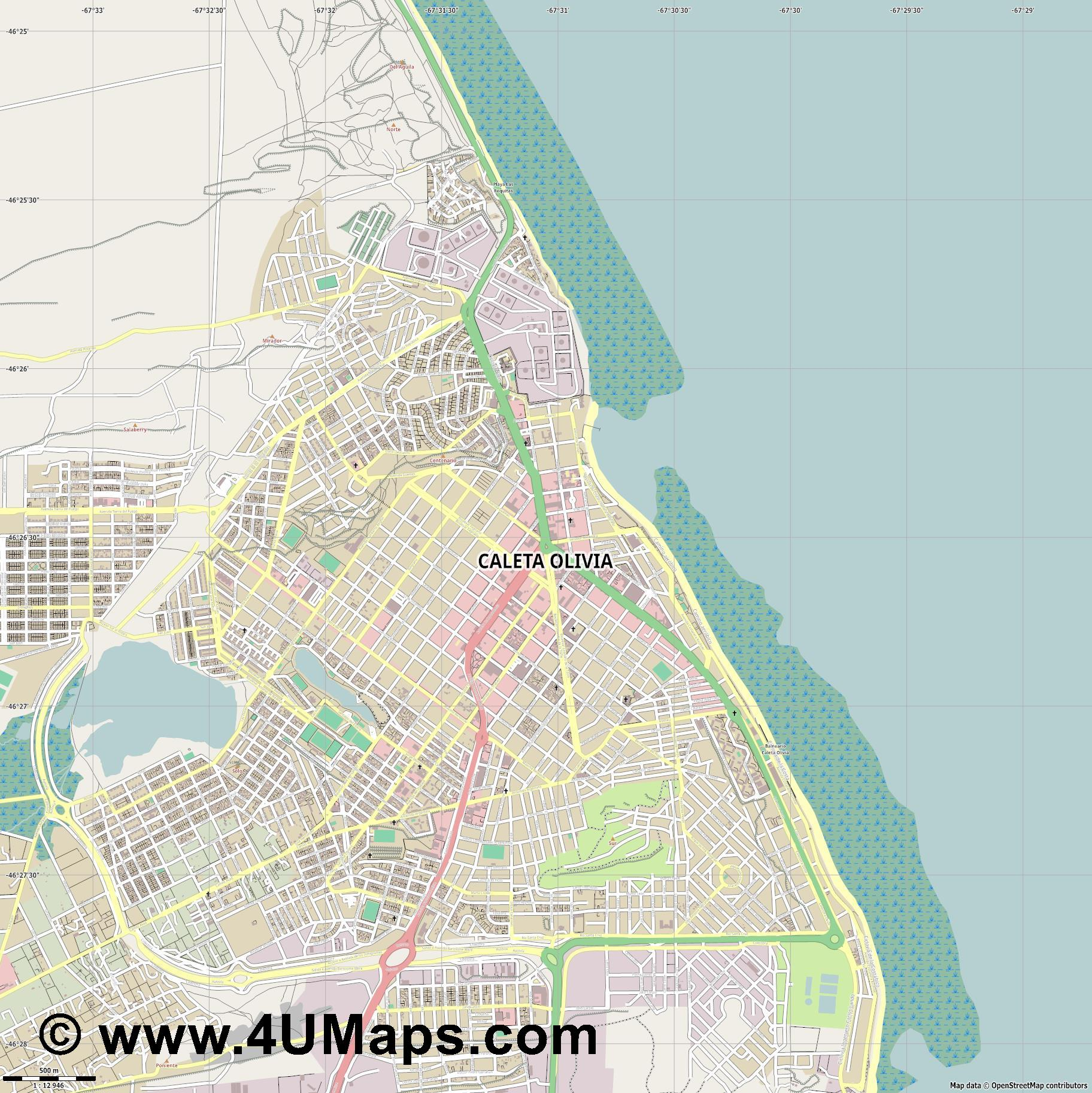 Caleta Olivia  jpg ultra high detail preview vector city map