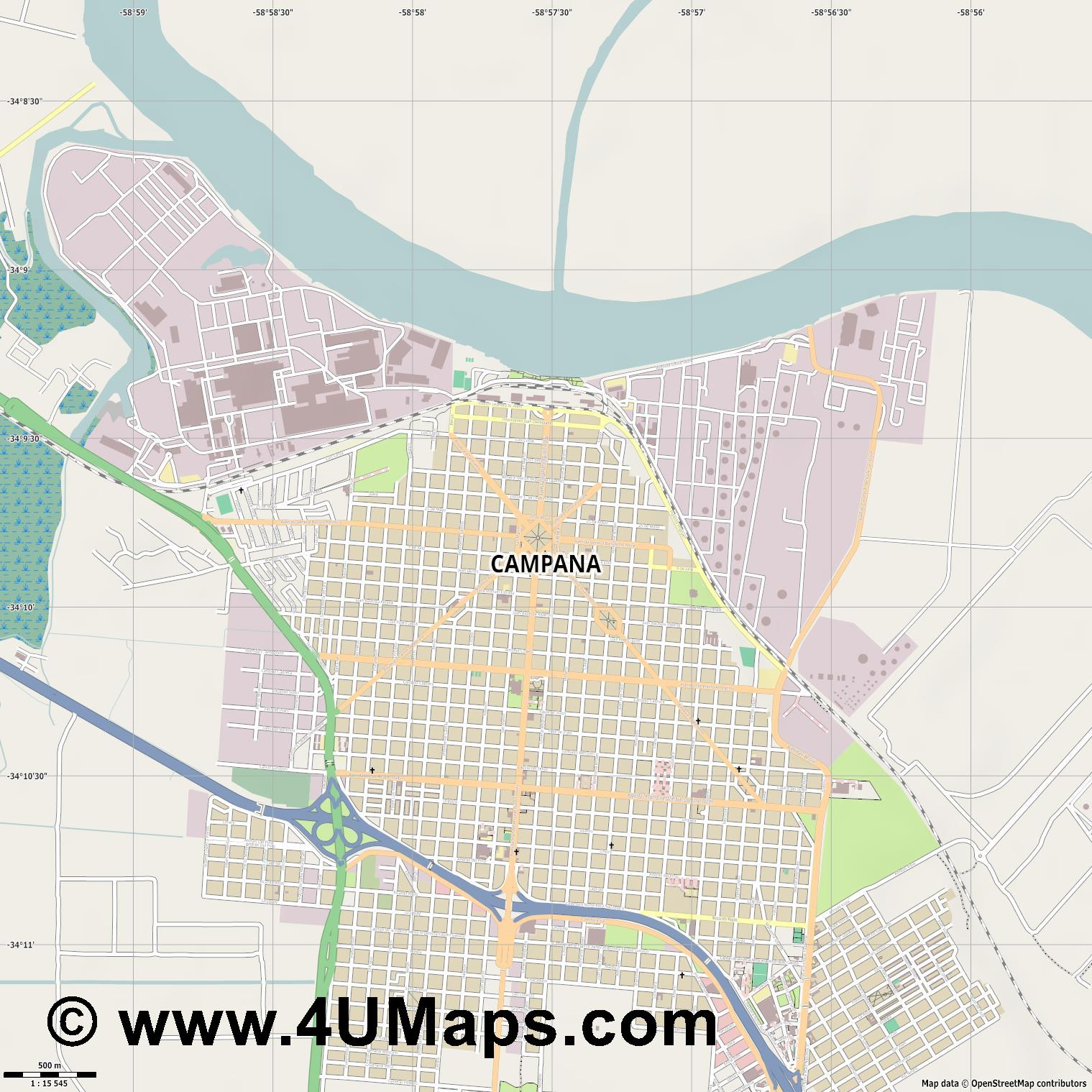 Campana  jpg ultra high detail preview vector city map