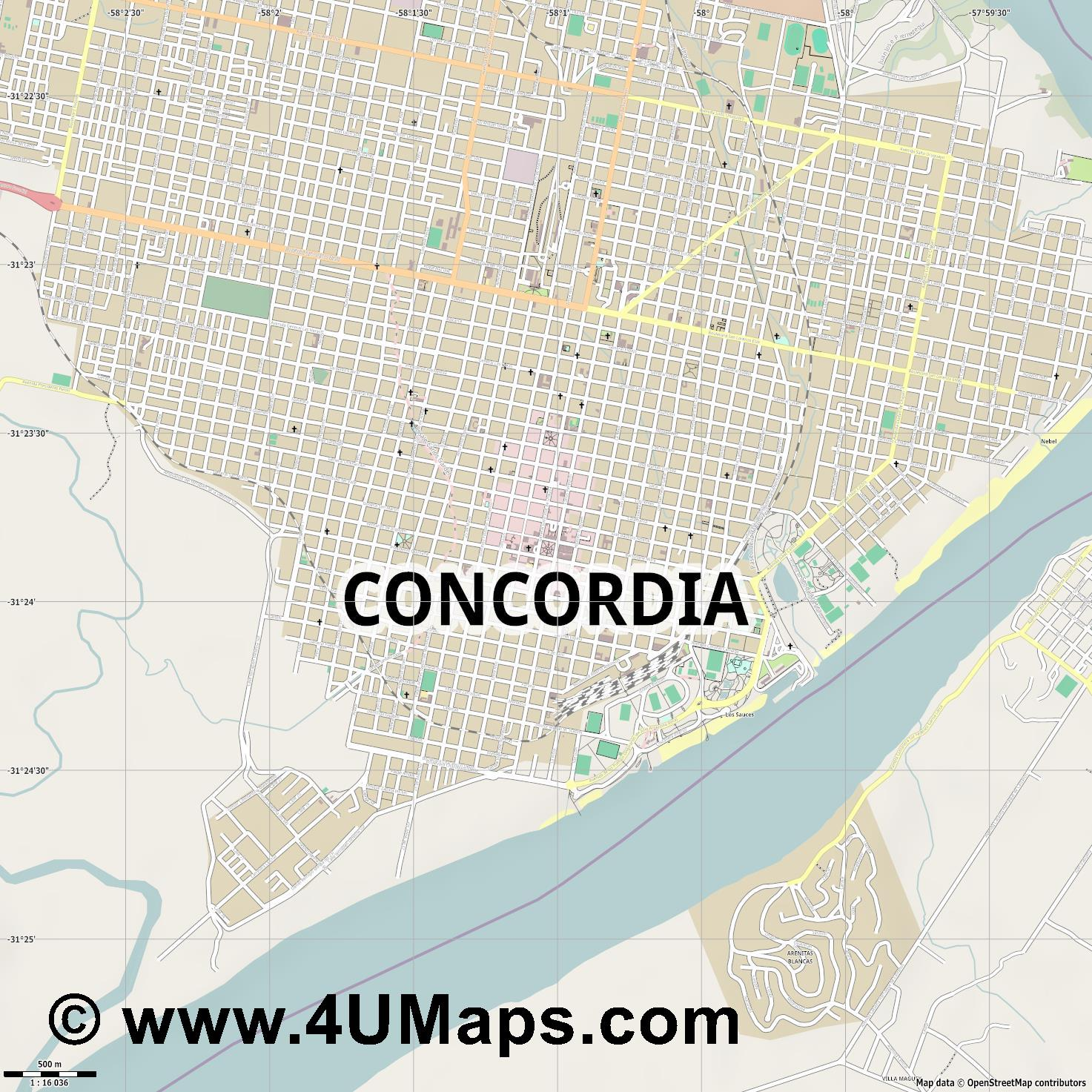 Concordia  jpg ultra high detail preview vector city map