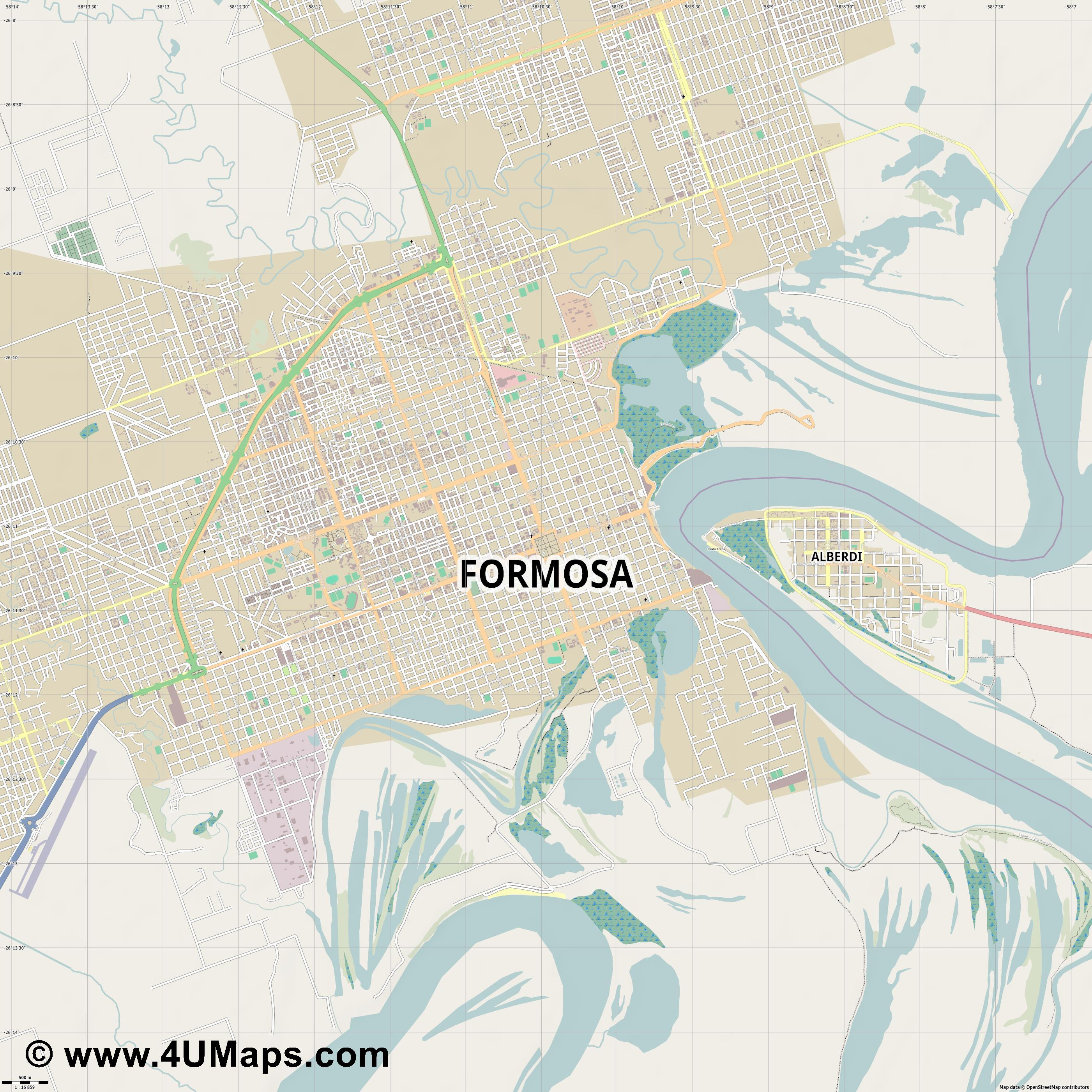 Formosa  jpg ultra high detail preview vector city map