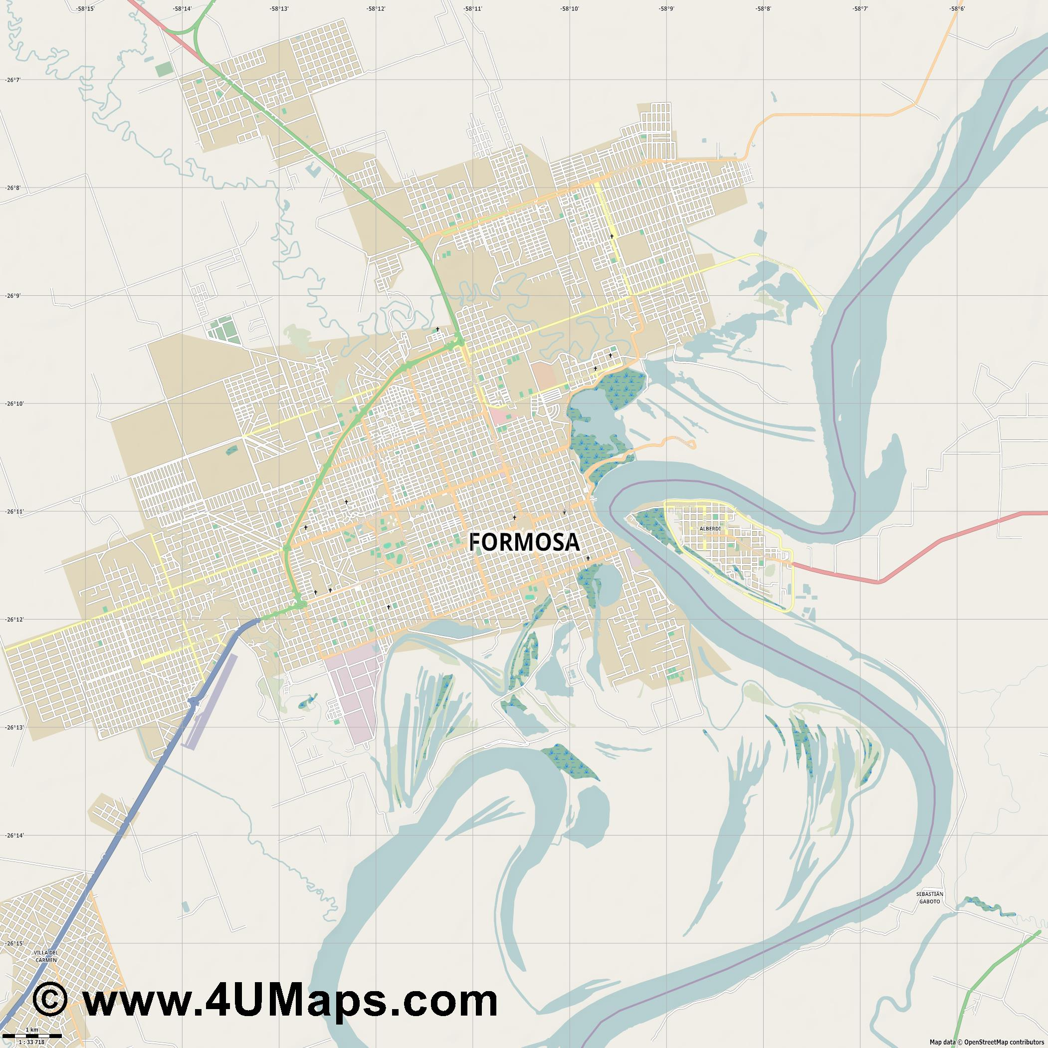 Formosa  jpg high detail, large area preview vector city map