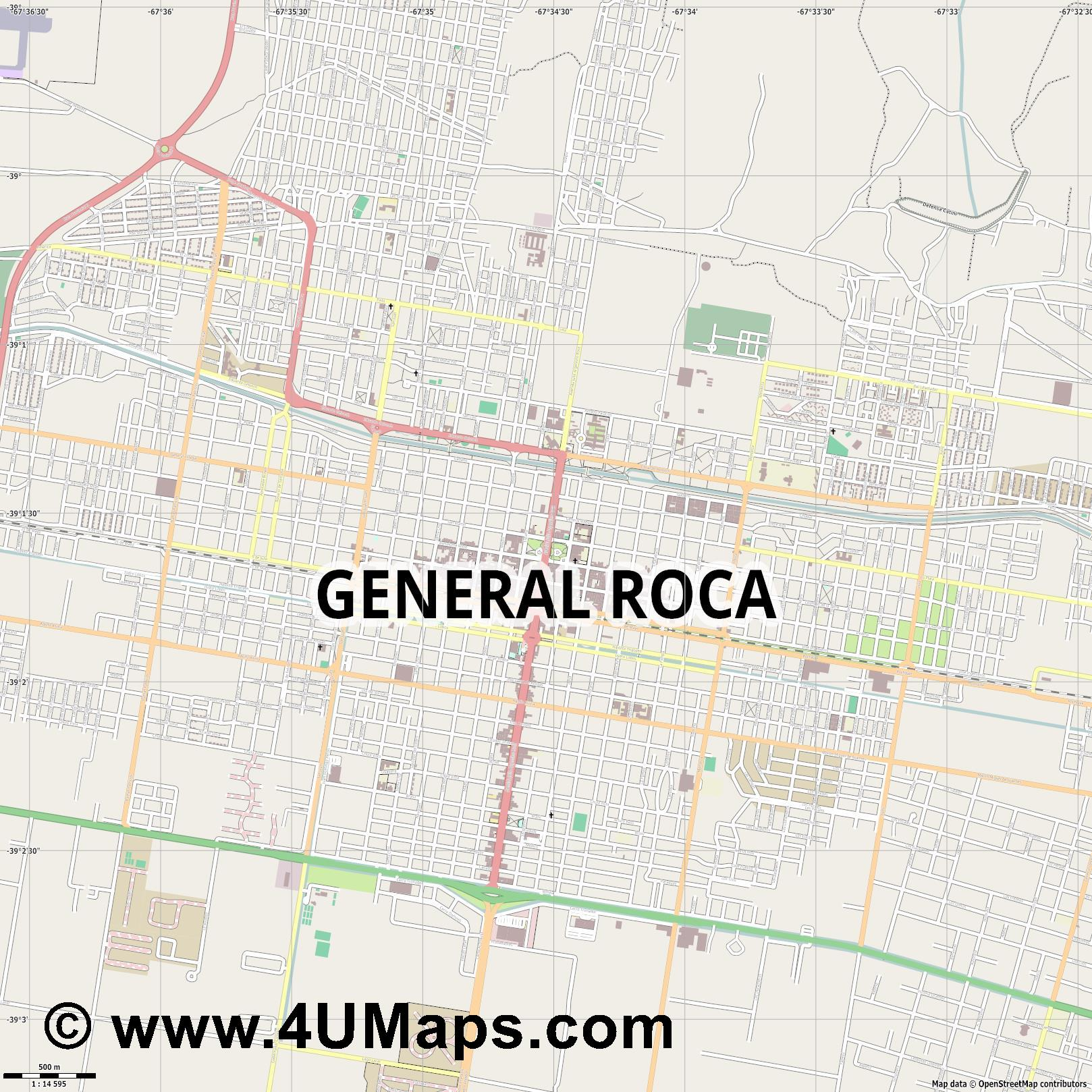 General Roca  jpg ultra high detail preview vector city map